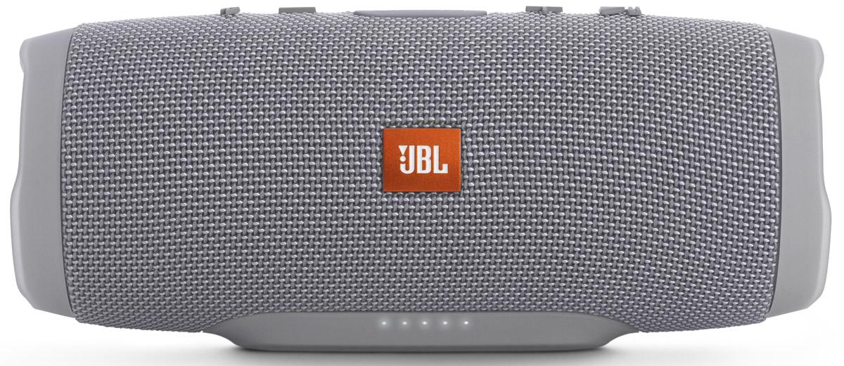 JBL Charge 3, Gray портативная колонкаБ0026850Уникальная беспроводная портативная акустическая система JBL Charge 3 гарантирует мощный стерео-звук и источник энергии в одном устройстве. Благодаря водонепроницаемому прорезиненному тканевому корпусу вечеринку с Charge 3 можно устроить в любом месте - у бассейна и даже под дождем. Аккумулятор высокой емкости на 6000 мАч гарантирует бесперебойную работу в течение 15 часов и позволяет заряжать смартфоны и планшеты по USB. Встроенный микрофон с шумо- и эхоподавлением гарантирует идеально чистый звук во время телефонных разговоров по нажатию одной кнопки. Подключайте дополнительные колонки с поддержкой JBL Connect по беспроводному соединению для еще более мощного звука.