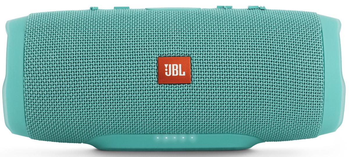 JBL Charge 3, Mint портативная колонкаБ0026852Уникальная беспроводная портативная акустическая система JBL Charge 3 гарантирует мощный стерео-звук и источник энергии в одном устройстве. Благодаря водонепроницаемому прорезиненному тканевому корпусу вечеринку с Charge 3 можно устроить в любом месте - у бассейна и даже под дождем. Аккумулятор высокой емкости на 6000 мАч гарантирует бесперебойную работу в течение 15 часов и позволяет заряжать смартфоны и планшеты по USB. Встроенный микрофон с шумо- и эхоподавлением гарантирует идеально чистый звук во время телефонных разговоров по нажатию одной кнопки. Подключайте дополнительные колонки с поддержкой JBL Connect по беспроводному соединению для еще более мощного звука.