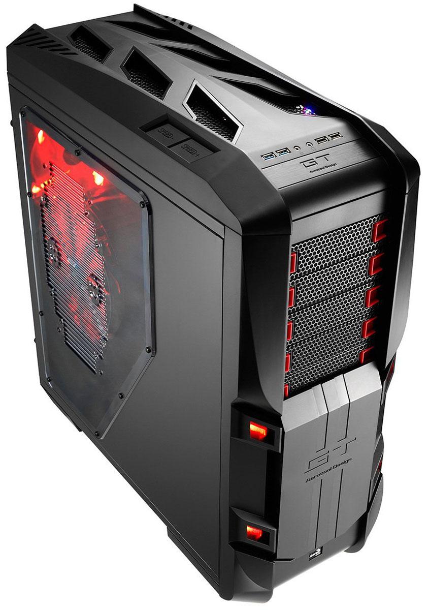 Aerocool GT-S Black Edition компьютерный корпус4713105952162Корпус Aerocool GT-S изготовлен из прочных панелей толщиной 1,2 мм. Он выполнен в форм-факторе FullTower и предназначен в первую очередь для геймеров и энтузиастов. На верхней панели имеются 2 кнопки для регулировки скорости вентиляторов в 4 диапазонах: 0-50-80-100% от скорости вращения. На передней панели имеются 5 отсеков для 5,25-дюймового оптического привода или панели управления вентиляторами. Данные отсеки закрываются магнитной крышкой, которую можно легко снять или закрепить в любом положении. Внутри корпуса располагаются 7 отсеков для 3,5-дюймовых или 2,5-дюймовых накопителей. Поддерживаются системы охлаждения процессора высотой до 185 мм. В Aerocool GT-S можно установить high-end видеокарты длиной до 333 мм.