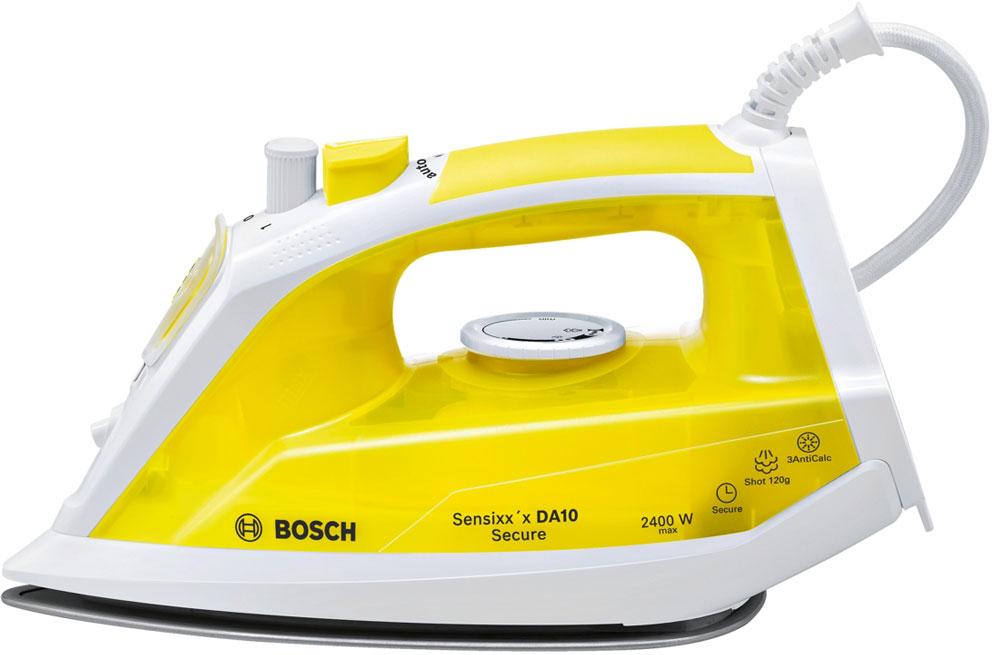 Bosch TDA1024140 утюгTDA1024140Утюг Bosch Sensixxx DA10 Secure оснащен нескользящей ручкой с резиновой накладкой и удобным расположением кнопок. Керамическая подошва PalladiumGlissee способствует быстрому нагреву и отличному скольжению. Мощность Bosch Sensixxx DA10 Secure достигает 2400 Вт, что позволяет качественно гладить даже тяжелые и сложные ткани, а заостренный носик поможет разгладить складки между пуговицами и швами. Благодаря паровому удару до 120 г/мин процесс глажения станет быстрее. Сенсорная система защиты от протечек Капля-стоп перекрывает подачу воды при недостаточной температуре воды. Исключается скапывание воды при глажении на низких температурах. Больше никаких капель и мокрых пятен на ткани. Три - счастливое число - это касается и срока службы прибора. Система защиты 3 AntiCalc обеспечивает идеальный пар без частичек накипи и включает в себя 3 вида защиты от накипи: Self clean, calcnclean и AntiCalc. Более долгий срок службы утюга. C Bosch безопасность...