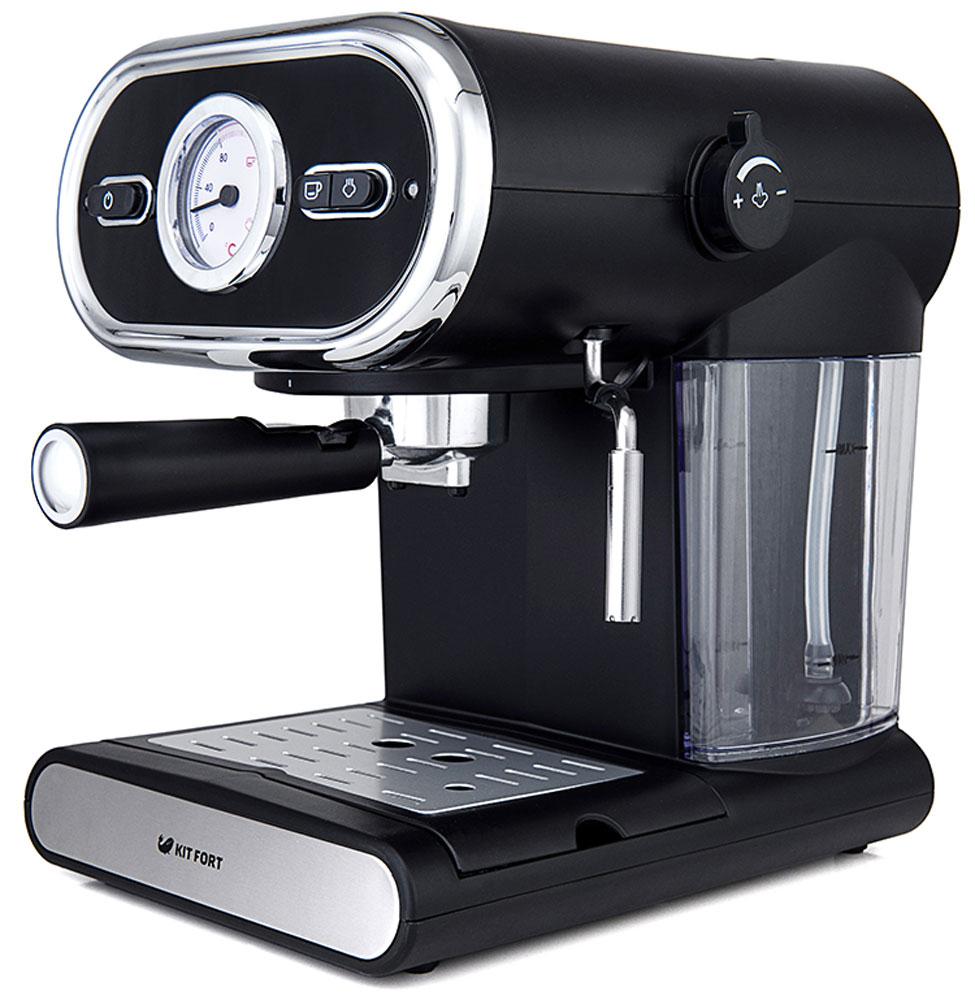 Kitfort КТ-702 кофеваркаКТ-702Помповая рожковая полуавтоматическая эспрессо-кофеварка Kitfort КТ-702 может приготовить 1 или 2 чашки кофе за один раз, оснащена функцией взбивания молока, а также поможет разогреть напитки горячим паром. Принцип действия кофеварки основан на пропускании горячей воды под давлением в несколько атмосфер через слой молотого кофе. Температура воды контролируется встроенным термостатом. Это позволяет быстро и полно экстрагировать из заварки все полезные вещества и получить отличный кофе эспрессо с пенкой. Благодаря функции взбивания молочной пены вы сможете приготовить настоящий капучино или торо. Корпус кофеварки выполнен из пластика с металлическими вставками. Металлический фильтр с лазерным нанесением отверстий долговечен, и не требует использования каких-либо расходующихся частей. Длина шнура питания: 93 см
