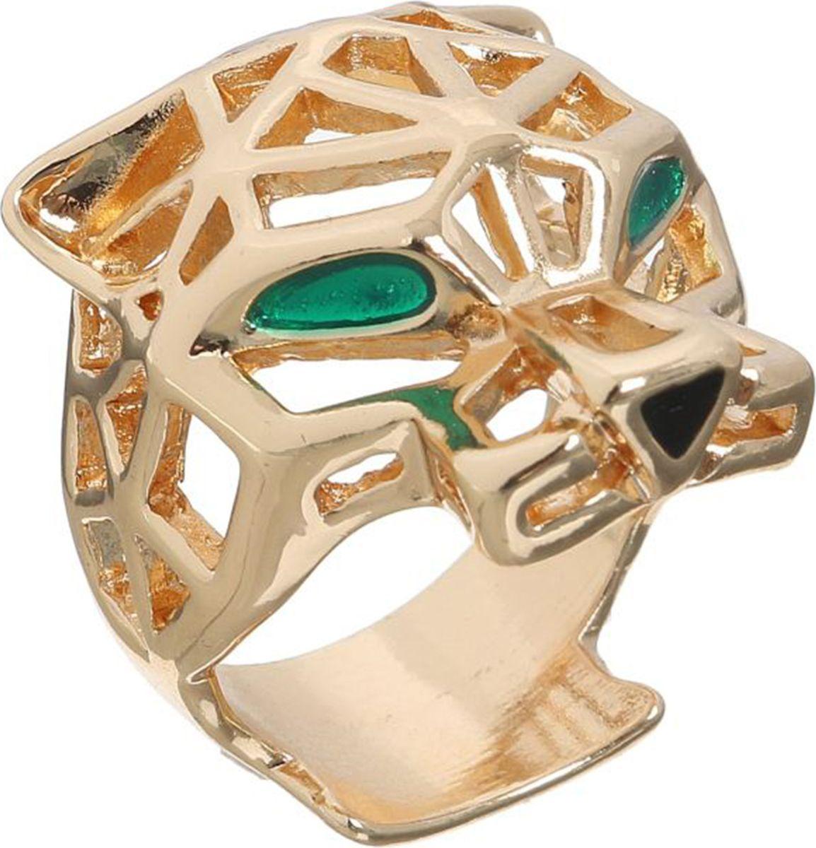 Кольцо Mitya Veselkov Тигр, цвет: золотой, зеленый. 1733837. Размер 171733837Оригинальное кольцо Mitya Veselkov Тигр изготовлено из гипоаллергенного бижутерного сплава. Изделие представляет собой голову тигра с зелеными глазами.