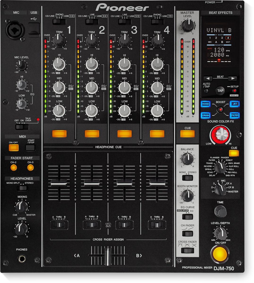 Pioneer DJM-750-K микшерный пульт среднего уровня375322Четырехканальный цифровой микшер Pioneer DJM-750 берет новую высоту в управлении эффектами и взаимодействии с ПО благодаря Boost Color FX и встроенной 24-бит/96 кГц звуковой карте. Boost Color FX добавляет второй эффект к Sound Color FX и позволяет контролировать параметры обоих эффектов всего одной кнопкой. В микшере целых 13 Beat FX, включая новый Vinyl Brake с отдельным регулятором Level/Depth для тактильного контроля над параметром Wet/Dry. Данная модель имеет встроенную высококачественную USB-звуковую карту. Для мгновенного доступа к установленному на ноутбуке ПО достаточно одного кабеля USB. На этом сходство с топовыми пультами Pioneer не заканчивается. DJM-750 оснащен высококачественным звуковым трактом, хорошо узнаваемым форматом, надежными фейдерами, трехполосным эквалайзером с полным вырезанием частот, и полным контролем по MIDI. Поддержка трех частот дискретизации (96/48/44.1 кГц) и стандарты ASIO/Core Audio позволяют задействовать DJM-750...
