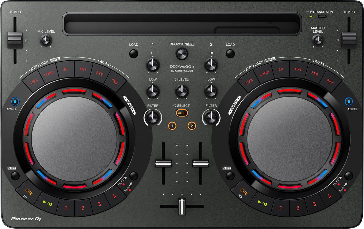 Pioneer DDJ-WEGO4-K DJ контроллер для начинающих397981Не надо долго искать, с чего начать! Pioneer DDJ-WEGO4-K - как раз то, что нужно начинающему диджею, чтобы сделать первые шаги. С помощью этого почти невесомого контроллера можно микшировать треки из фонотеки iTunes твоего iPad, или работать с музыкой, хранящейся на ноутбуке. В модели есть всё для того, чтобы научиться сводить профессионально: кнопки play/cue, регуляторы эквалайзера, ползунковые регуляторы темпа, кроссфейдер и джог для скретча. Унаследованные от профессионального оборудования семплер, Hot Cues и эффекты Pad FX добавят твоим выступлениям еще больше творческого разнообразия. Подключить DDJ-WeGO4 очень просто, просто подсоедини поставляемый в комплекте кабель USB или Lightning-кабель, и готово. iPad надежно фиксируется в слоте на контроллере под углом, удобным для обзора. Использование встроенного динамика компьютера как мастер выхода и подключение наушников к контроллеру. Переключение между 3-полосным эквалайзером,...