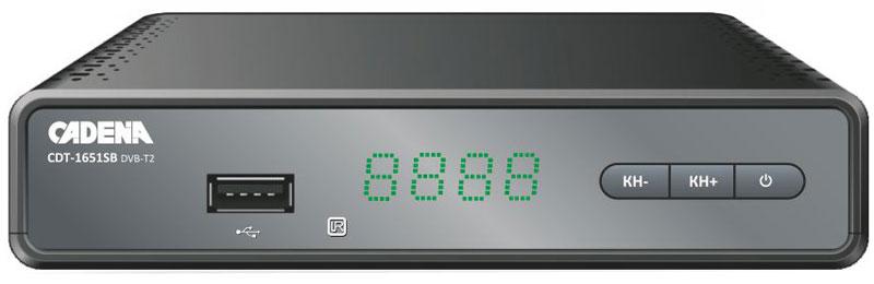 Cadena CDT-1651SB, Black DVB-T2 ТВ-тюнерCADENA CDT-1651SBПриемник Cadena CDT-1651SB предназначен для просмотра бесплатного цифрового эфирного телевидения высокого качества. Высокочувствительный тюнер обеспечивает стабильное качество принимаемого сигнала. При подключении внешнего USB устройства можно записывать транслируемые телевизионные каналы, а так же воспроизводить мультимедийные файлы и изображения на телевизор. Приемник имеет HDMI выход, при помощи которого можно выводить на телевизор изображение в формате высокой четкости HD 1080p. Также выполнить подключение к телевизору можно и при помощи аналогового RCA выхода. Поддержка субтитров, телетекста, электронной программы передач (EPG).