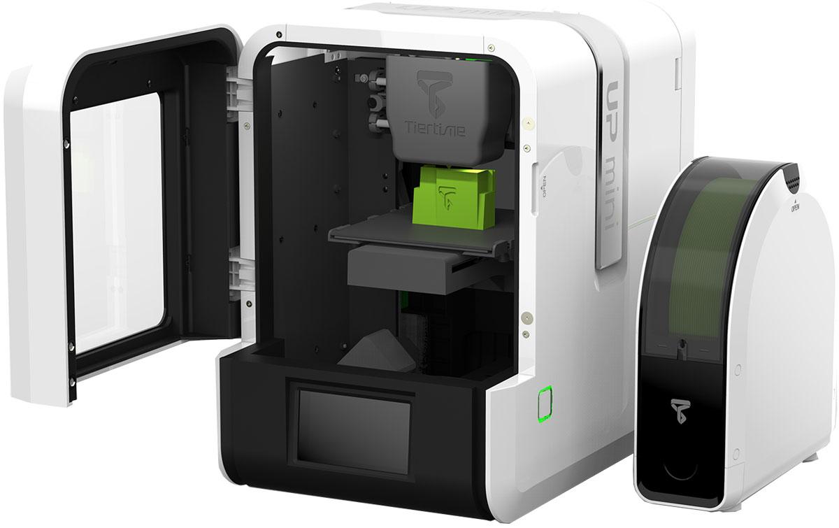 UP Mini 2 3D принтерCB00020Up mini 2 еще более компактный, портативный и удобный. Это первый 3D принтер в серии, оснащенный сенсорным экраном, а также модулем Wi-Fi, который позволяет контролировать рабочий процесс при помощи мобильного приложения. Этот функционал делает устройство еще более удобным и простым в использовании, чем первая модель. Экструдер, установленный на Up mini 2, поддерживает технологию горячей замены, а сам принтер умеет сохранять копии файлов во встроенной памяти. В корпусе устройства имеется специальный отсек для хранения дополнительных отделочных инструментов, а также запчастей. UP mini 2 имеет примерно такие же габариты, как и его предшественник, а максимальный объем создаваемого объекта составляет 12 х 12 х 12 сантиметров, но уже с улучшенным разрешением печати – до 0,15 мм. В отличие от предыдущей модели, здесь появилось обзорное окно, сквозь которое можно наблюдать за процессом создания объекта, а облегчит это действие встроенная светодиодная...