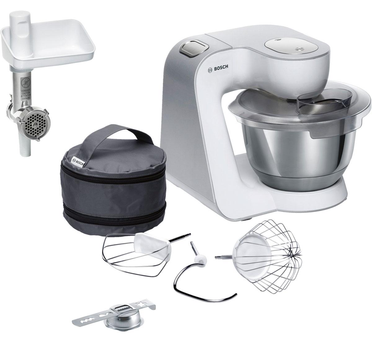 Bosch MUM58225, White кухонный комбайнMUM58225Мощная кухонная машина с многосторонними возможностями для готовки и выпечки. Легко обрабатывает большие количества ингредиентов (до 1 кг муки плюс ингредиенты) благодаря мощному мотору 1000 Вт. Отличное качество замеса теста благодаря особой форме внутренней поверхности чаши и благодаря планетарному вращению насадок в трех плоскостях 3D. Возможно замесить до 2,7 кг легкого теста/ 1,9 кг дрожжевого теста. Bosch MUM58225 простой и удобный в использовании благодаря функции автоматического поднятия рычага EasyArmLift.
