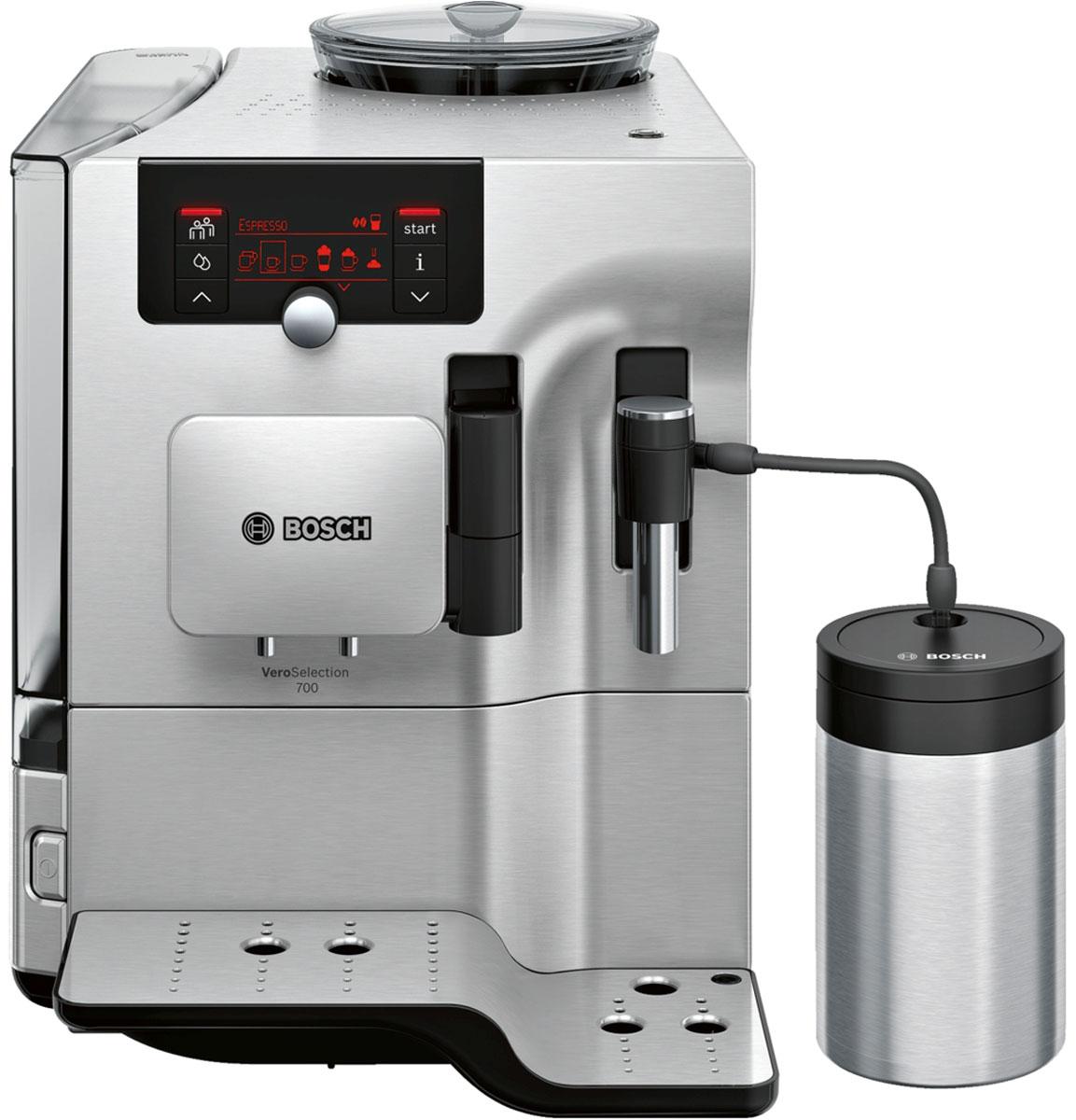 Bosch TES80721RW, Silver кофемашинаTES80721RWНовые вершины вкуса и аромата кофе - профессиональный подход к приготовлению кофе. Инновационный проточный нагреватель Intelligent Heater inside: правильная температура заваривания кофе и полноценный аромат благодаря технологии SensoFlowSystem. Большой выбор напитков и комфорт при приготовлении. Функция OneTouch для приготовления кофейных напитков одним нажатием кнопки и PersonalCoffee Pro для сохранения индивидуальных настроек. Насыщенный аромат: приготовление очень крепкого кофе благодаря функции AromaDouble Shot и системе регулирования насыщенности напитка благодаря функции AromaIntense. Для тех, кто ценит особый комфорт: содержит CreamCleaner, или систему очистки каналов подачи после приготовления напитков с молоком , функцию подогрева чашек, отдельный контейнер для молока и функцию подсветки чашек.