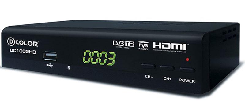 D-Color DC1002HD DVB-T2 цифровой ТВ-тюнер6907325810021Цифровой ТВ-тюнер D-Color DC1002HD отвечает всем самым современным требованиям к цифровым ресиверам. Новейшее ПО и качественные комплектующие позволяют передавать четкую, яркую, сочную картинку даже в самых отдаленных регионах России. Процессор: MStar 7T01 со встроенным демодулятором Тюнер: Maxliner 608 Тип корпуса: металлический Диапазон принимаемых частот: 174-862 MГц.