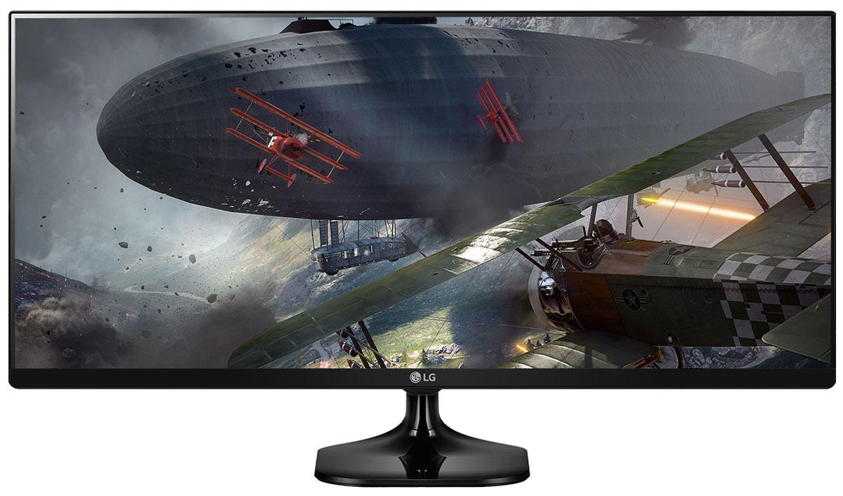 LG 34UM58-P, Black монитор34UM58-P.ARUZМонитор LG 34UM58-P имеет PS экран UltraWide™ формата 21:9 с разрешением FHD. Изогнутый экран UltraWide формата 21:9 с разрешением FHD (2560 x 1080) обеспечивает качественное и комфортное для глаз изображение. Полное отсутствие эффектов смещения или искажения цвета. Игровой режим с подрежимами FPS, RTS и пользовательским подрежимом позволяет настраивать монитор в зависимости от жанра игры. Функция стабилизации черного цвета (Black Stabilizer) особенно удобна для обнаружения объектов, в том числе врагов, скрывающихся в темных областях. Функция динамической синхронизации действий (Dynamic Action Sync) позволяет быстрее атаковать врагов и уменьшить время задержек. Охват более 99% цветового пространства sRGB IPS-дисплей и охват более 99% цветового пространства sRGB гарантирует реалистичную цветопередачу, позволяющую создать эффект присутствия. Режимы разделения экрана и картинка-в-картинке позволят максимально эффективно работать с несколькими...