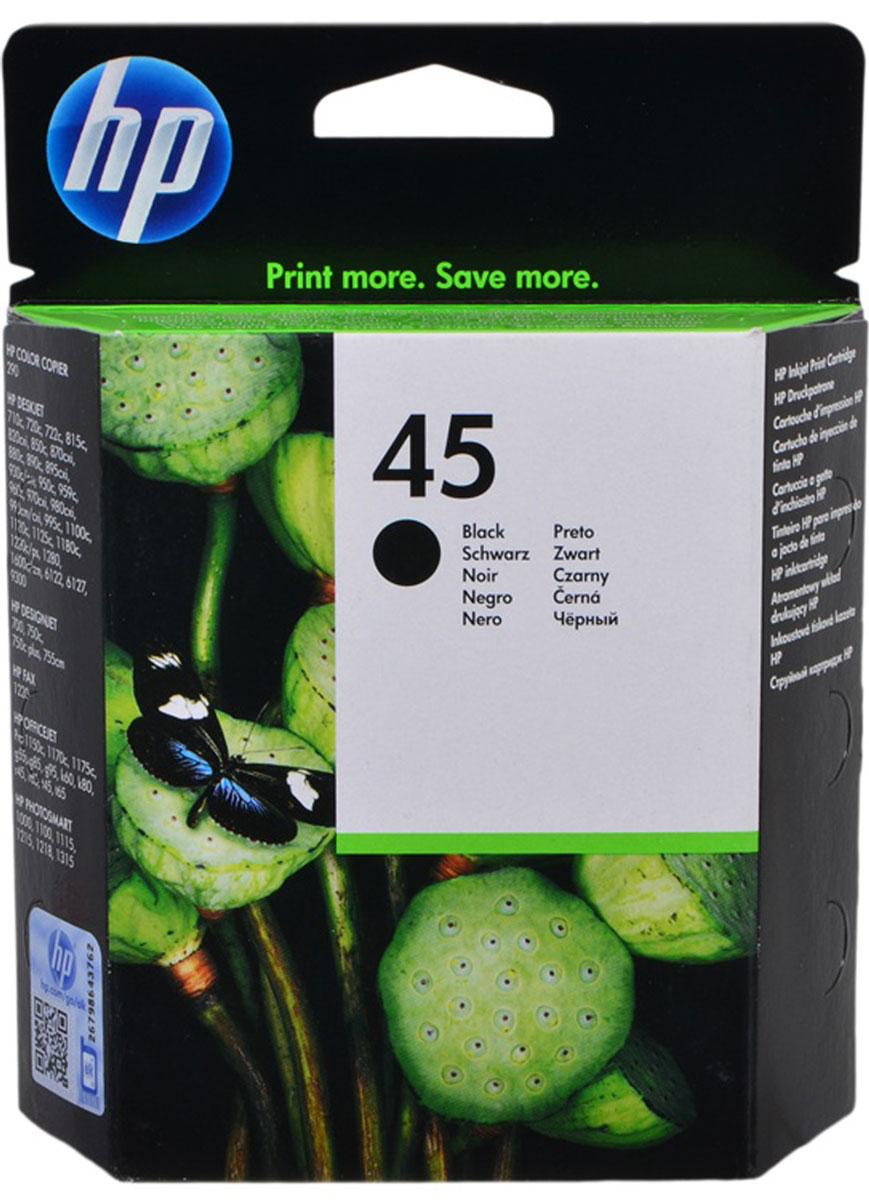 HP 51645A (№45), Black картридж для DJ815/890/930/970/1125/1220с/160051645AЧерный струйный картридж HP 45 обеспечивает разрешение 600 x 600 т/д и использует технологию пигментных чернил, которая гарантирует высочайшее качество печати на принтерах HP Deskjet, Photosmart, Designjet и Officejet, особенно с использованием бумаги и пленок HP. Идеальное решение для деловых или домашних пользователей, которым необходима удобная мобильная система печати. Оптимальное качество и высокая надежность. Чернила высокой плотности на пигментной основе обеспечивают чёткую чёрно-белую печать текста и графики. Корпус картриджа снабжён удобным индикатором уровня чернил. Встроенная печатающая головка и запас чернил. Простота установки и выемки картриджа обеспечивает быстроту и лёгкость замены.