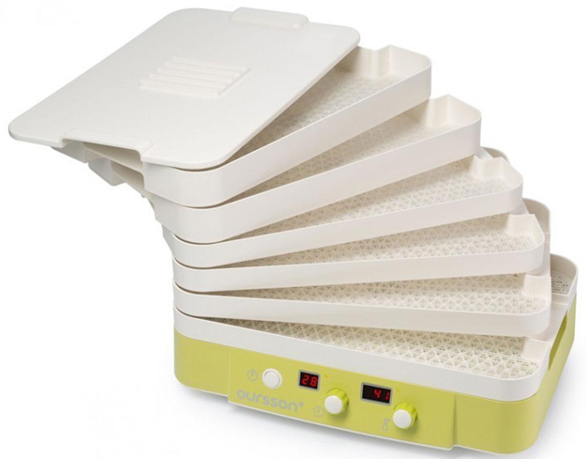 Oursson DH2400D/GA дегидратор-ферментаторDH2400D/GAВяленье мяса и рыбы, приготовление домашнено йогурта, кефира, сметаны, творога. Дегидрирование овощей, фруктов или грибов. Дегидратор- ферментатор поможет заготовить продукты впрок и чтобы они при этом не потеряли своих полезных свойств. Необходимо заготовить продукты впрок и чтобы они при этом не потеряли своих полезных свойств? Дегидратор Oursson DH2400D – это электробытовой прибор, который поможет прекрасно справиться с этой задачей. В нем вы можете заготовить овощи, фрукты и грибы, вялить мясо, рыбу и птицу, ферментировать йогурт, творог, сметану, кефир и многое другое. Электронное управление поможет выставить правильную температуру в пределах от 35 до 70°С, и покажет время, необходимое для процесса дегидрирования, вяления или ферментации. Прибор изготовлен из безопасного BPA Free ABS пластика, имеет 6 вместительных лотков для сушки разной высоты и 4 емкости для ферментации. Во время сушки или вяления из фруктов, овощей, мяса или рыбы испаряется...