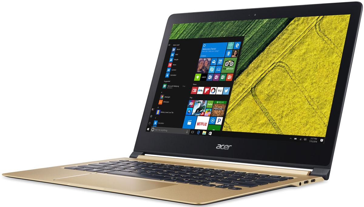 Acer Swift 7 SF713-51-M8KU, Black GoldSF713-51-M8KUAcer Swift 7 - портативный ноутбук с толщиной корпуса 10 мм и весом 1,13 кг. Забудьте о розетках на весь день. До 9 часов автономной работы позволят всегда быть в курсе событий и не пропустить ничего важного. В 3 раза более высокая скорость беспроводного подключения. Оцените трехкратное увеличение скорости беспроводного соединения благодаря стандарту 2x2 802.11ac и технологии MU-MIMO. Четкое изображение. Дисплей IPS с разрешением Full HD и диагональю 13,3 обеспечивает кристально четкое и яркое изображение. Стекло Corning Gorilla Glass нового поколения делает экран Acer Swift 7 более устойчивым к механическим повреждениям и выдерживать падения в 2 раза лучше по сравнению с моделями из других материалов. Технология Acer Color Intelligence динамически регулирует гамму и насыщенность, оптимизируя цвета и яркость. Широкий тачпад с технологией Precision Touchpad обеспечивает достаточно места для удобной навигации и высокую...