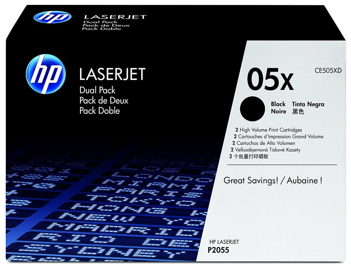 HP CE505XD (05X), Black тонер-картридж для LaserJet P2055, 2 штCE505XDЭкономия средств по мере увеличения объемов печати. Двойные упаковки картриджей HP CE505XD (05X) для принтеров LaserJet P2055 позволяют сократить расходы на печать, обеспечивая при этом профессиональное качество и бесперебойную работу, свойственную оригинальным расходным материалам HP. Оригинальные расходные материалы HP удобны в приобретении и использовании. Удобные сдвоенные упаковки с двумя оригинальными черными картриджами с тонером для принтеров HP LaserJet позволяют свести время простоев к минимуму. Подлинные картриджи с тонером для принтеров HP LaserJet на 70% определяют качество печати. Оригинальные картриджи HP специально разработаны для конкретной модели принтера, они обеспечивают надежные профессиональные результаты, экономящие время. Сдвоенные упаковки картриджей HP позволяют значительно сократить расходы на печать.