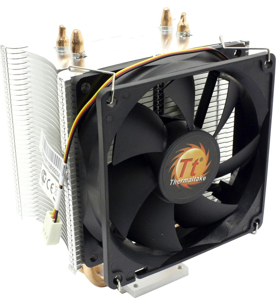 Thermaltake Contac 16 кулер компьютерныйCLP0598Кулер Thermaltake Contac 16 обеспечивает великолепную производительность, благодаря технологии прямого контакта. Две теплотрубки диаметром 6 мм обеспечивают хороший контакт с CPU и улучшают теплопередачу. Высококачественная термопаста обеспечивает высокую теплопередачу между поверхностью CPU и основанием кулера. Предустановленный 92 мм высокоэффективный вентилятор Дополнительно прилагаются две крепежные клипсы для второго вентилятора