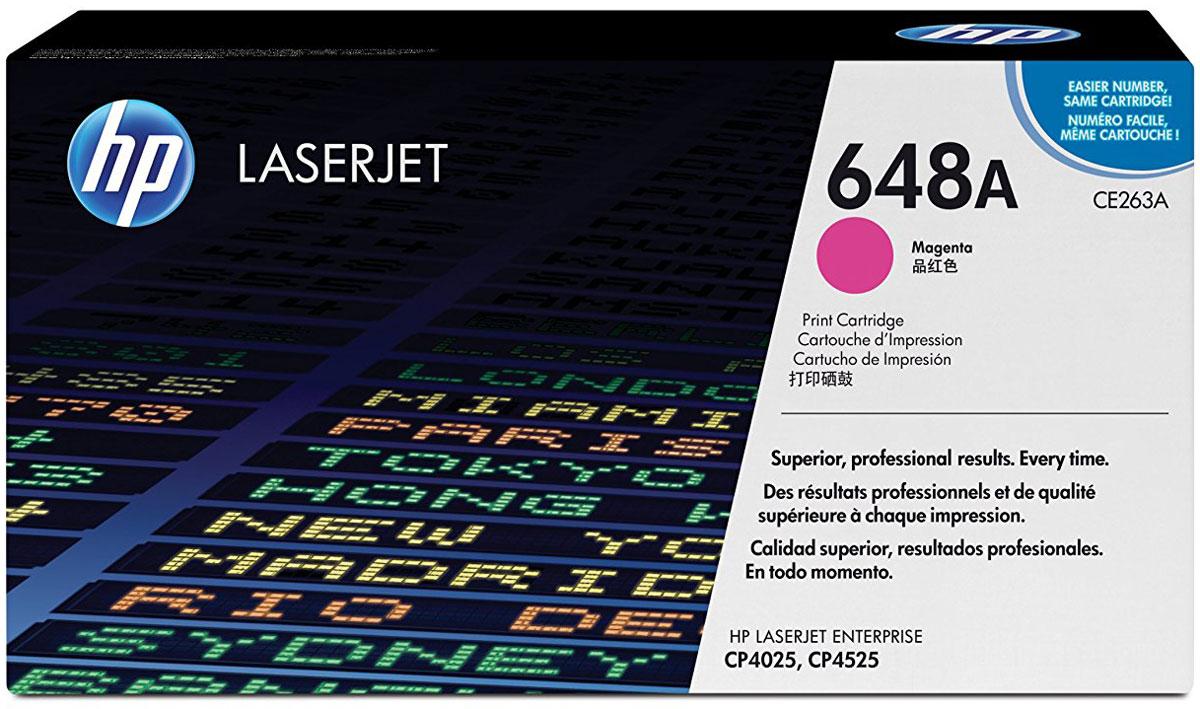 HP CE263A (№648A), Magenta тонер-картридж для Color LaserJet Enterprise CP4025/CP4525CE263AТонер-картридж HP CE263A (№648A) разработан специально для принтеров Color LaserJet Enterprise CP4025/CP4525, позволяет печатать деловые документы с профессиональным качеством цвета и имеет стабильную производительность. Картридж HP Color LaserJet обеспечивает высокую производительность и экономит время. Оригинальные картриджи HP с тонером ColorSphere обеспечивают четкий текст и насыщенные цвета при печати различных деловых документов. Тонер HP гарантирует неизменно высокие результаты и профессиональное качество лазерной печати на различных носителях. Картриджи для принтеров HP Color LaserJet гарантируют безотказную печать неизменно высокого качества. Благодаря своей исключительной надежности эти картриджи обеспечивают бесперебойную работу и позволяют снизить затраты на расходные материалы. Интеллектуальная система, встроенная в оригинальные картриджи HP, упрощает мониторинг расхода тонера и процедуру заказа расходных материалов.