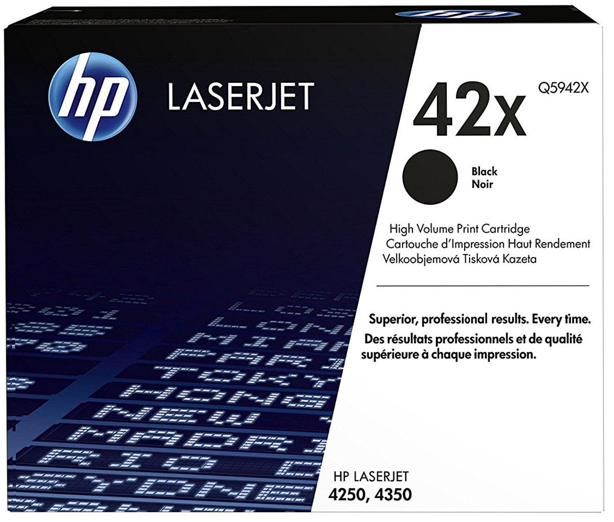 HP Q5942X (42A), Black тонер-картридж для LaserJet 4250/4350Q5942XКартриджи HP Q5942X (42A) обеспечивает бесперебойную печать. Оригинальные картриджи HP с оригинальным тонером HP гарантируют качественное выполнение задач печати в офисе. Добейтесь превосходного качества черно-белой печати для повседневных нужд. Это недорогое и производительное решение отлично подойдет для печати отчетов, счетов, таблиц и других повседневных документов. Конструкция оригинальных картриджей LaserJet и уникальная формула тонера HP гарантируют неизменно высокое качество печати на протяжении всего срока службы картриджа. Конструкция расходных материалов обеспечивает стабильные показатели ресурса при смене картриджа.
