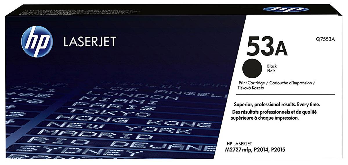 HP Q7553A (53A), Black тонер-картридж для LaserJet M2727/P2015Q7553AТонер-картридж HP Q7553A (53A) обеспечивает стабильно высокое качество и производительность. Оригинальные картриджи HP LaserJet обеспечивают высочайшую скорость печати и превосходное качество.
