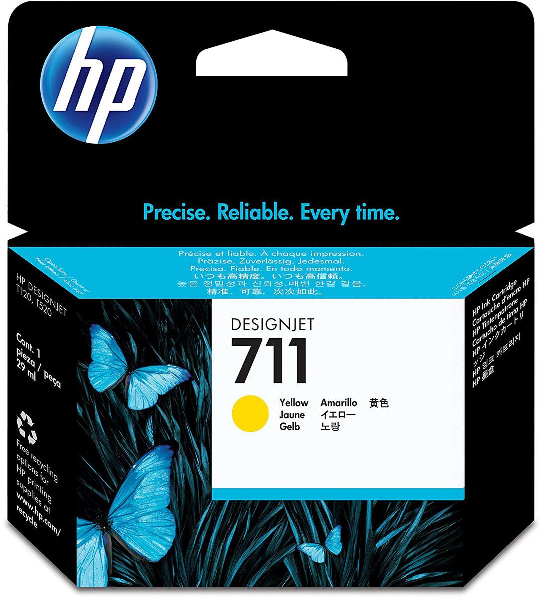 HP CZ132A (711), Yellow картридж для T120/T520CZ132AКартридж HP 711 емкостью 29 мл с желтыми чернилами обеспечивает великолепную печать. Насыщенный цвет и четкие линии в сочетании с быстрым высыханием и стойкостью фотографий к смазыванию. Оригинальные чернила HP разработаны и протестированы вместе с принтерами для обеспечения стабильных результатов. Пробы и ошибки отнимают время. Для получения качества, достойного вас, используйте оригинальные расходные материалы HP, которые в сочетании с принтером работают как оптимизированная система печати для обеспечения точных линий, четких деталей и богатой цветовой гаммы. Представьте, какое влияние вы сможете оказать на своих слушателей, если в вашем арсенале будут четкие и легкочитаемые чертежи и цветные презентации. Оригинальные чернила HP - это уникальная комбинация качества и надежности; чернила HP - это четкость линий, быстрое высыхание и стойкость к смазыванию.