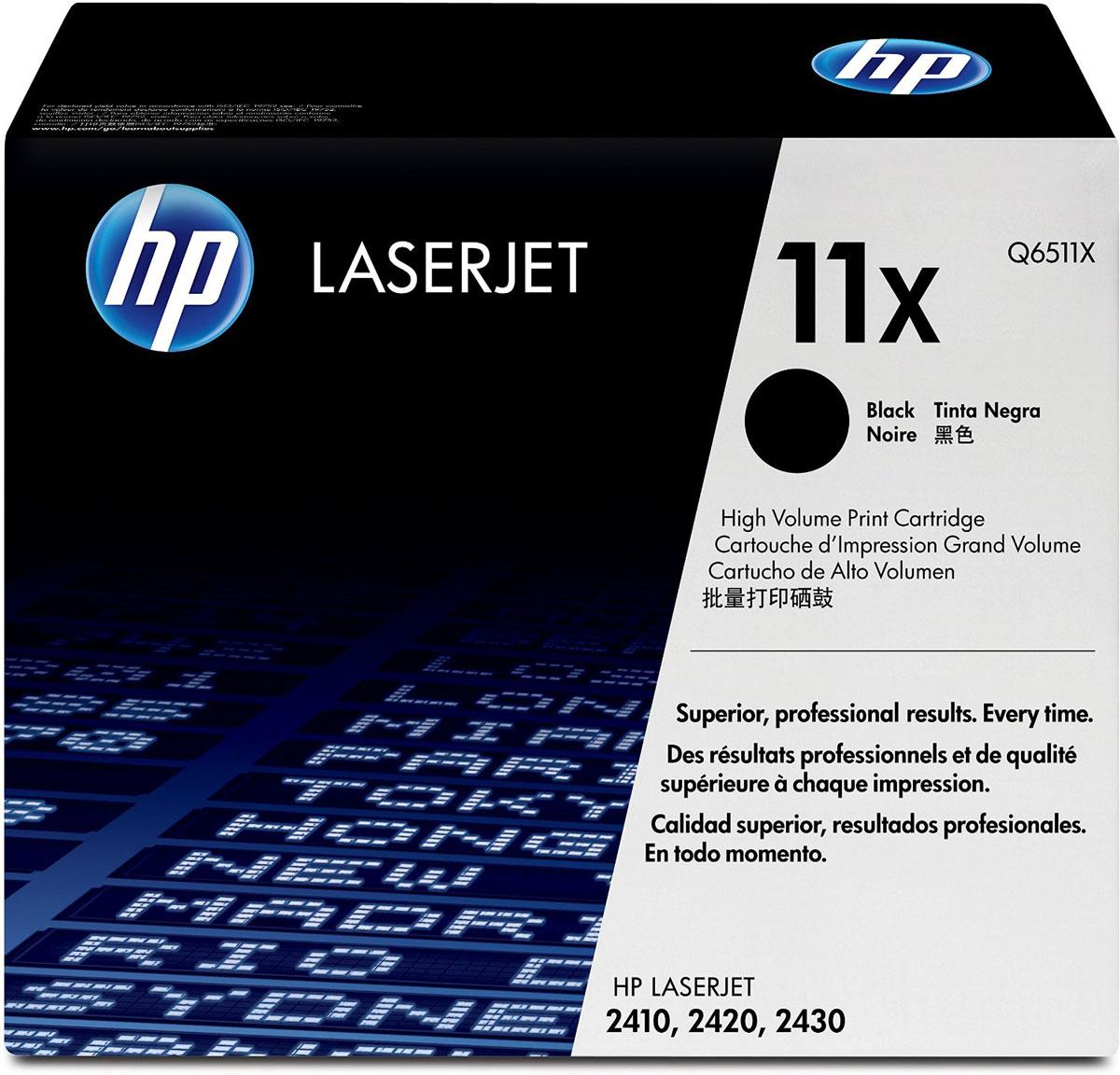HP Q6511X (11X), Black тонер-картридж для LaserJet 2410/2420/2430Q6511XКартриджи HP Q6511X (11X) обеспечивает бесперебойную печать. Оригинальные картриджи HP с оригинальным тонером HP гарантируют качественное выполнение задач печати в офисе. Добейтесь превосходного качества черно-белой печати для повседневных нужд. Это недорогое и производительное решение отлично подойдет для печати отчетов, счетов, таблиц и других повседневных документов. Конструкция оригинальных картриджей LaserJet и уникальная формула тонера HP гарантируют неизменно высокое качество печати на протяжении всего срока службы картриджа. Конструкция расходных материалов обеспечивает стабильные показатели ресурса при смене картриджа.