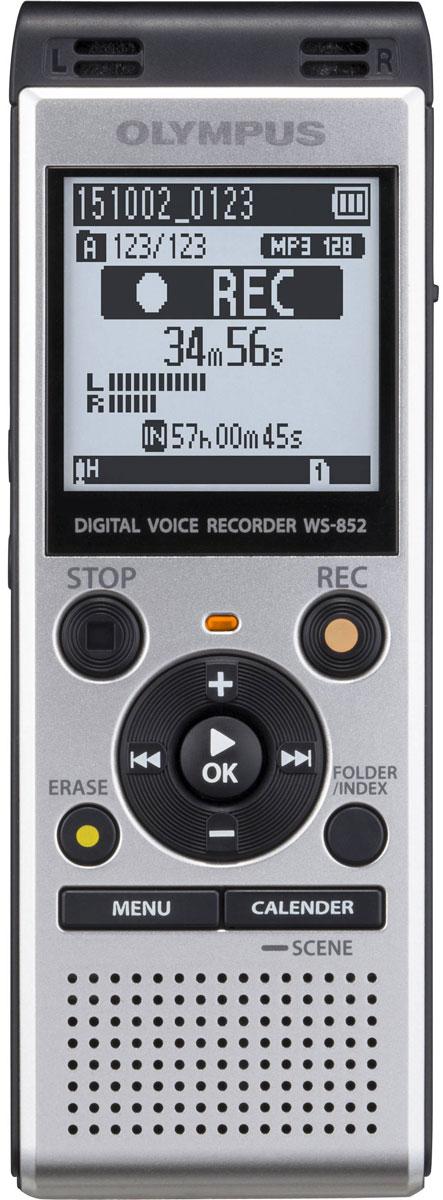 Olympus WS-852, Silver диктофонV415121SE000Независимо от ваших потребностей, в формальной или неформальной обстановке, диктофон Olympus WS-852 сочетает в себе высокую производительность, стерео запись со смарт-функциональностью. Это не только делает его приятным, но и простым в использовании в любой ситуации. Стерео микрофон с шумоподавлением и радиусом охвата 90° позволит вам запечатлеть мельчайшие детали встречи. Независимо от того, где находится спикер и в каком направлении расположен микрофон. Для того, чтобы сделать прослушивание записей более комфортным, режим Intelligent Auto Mode автоматически настраивает уровень звука от разных источников, делая их максимально близкими по громкости. Когда спикер говорит очень громко, диктофон уменьшает уровень входного сигнала, а для мягких голосов рекордер увеличивает уровень входного сигнала - всегда обеспечивая один уровень громкости. С двумя различными режимами отображения, вы можете использовать диктофон, даже если вы новичок. ...