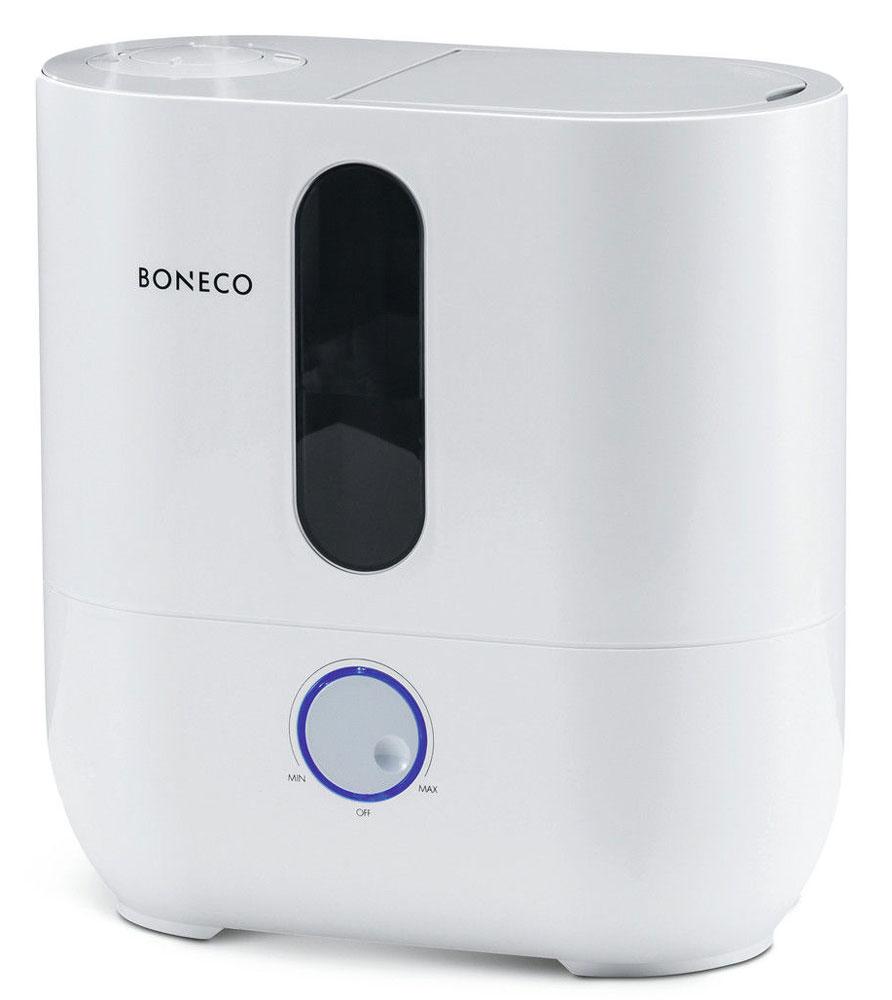 Boneco U300 ультразвуковой увлажнитель воздухаНС-1104650Девиз Boneco — простота и функциональность. Ничего лишнего: ручное управление двумя режимами, верхний залив воды, двухцветная диодная подсветка регулятора, сигнализирующая о необходимости долива воды в прибор. Аккуратный внешний вид и высокая производительность увлажнения подойдет как для дома, так и для небольшого офисного кабинета. Если вы уверены в том, что вам нужен надежный и простой в управлении и обслуживании увлажнитель воздуха, U300 — прекрасный выбор. Принцип вертикального залива воды. Достаточно открыть верхнюю крышку прибора и налить воду непосредственно в прибор из лейки или кувшина. Уход за прибором предельно прост, достаточно своевременно менять картридж для умягчения воды, споласкивать бак под проточной водой и не реже 1 раза в неделю чистить мембрану — для этого в приборе предусмотрена специальная кисточка, которая бережно удаляет следы отложений, тем самым продлевает срок службы прибора и эффективность увлажнения. ...