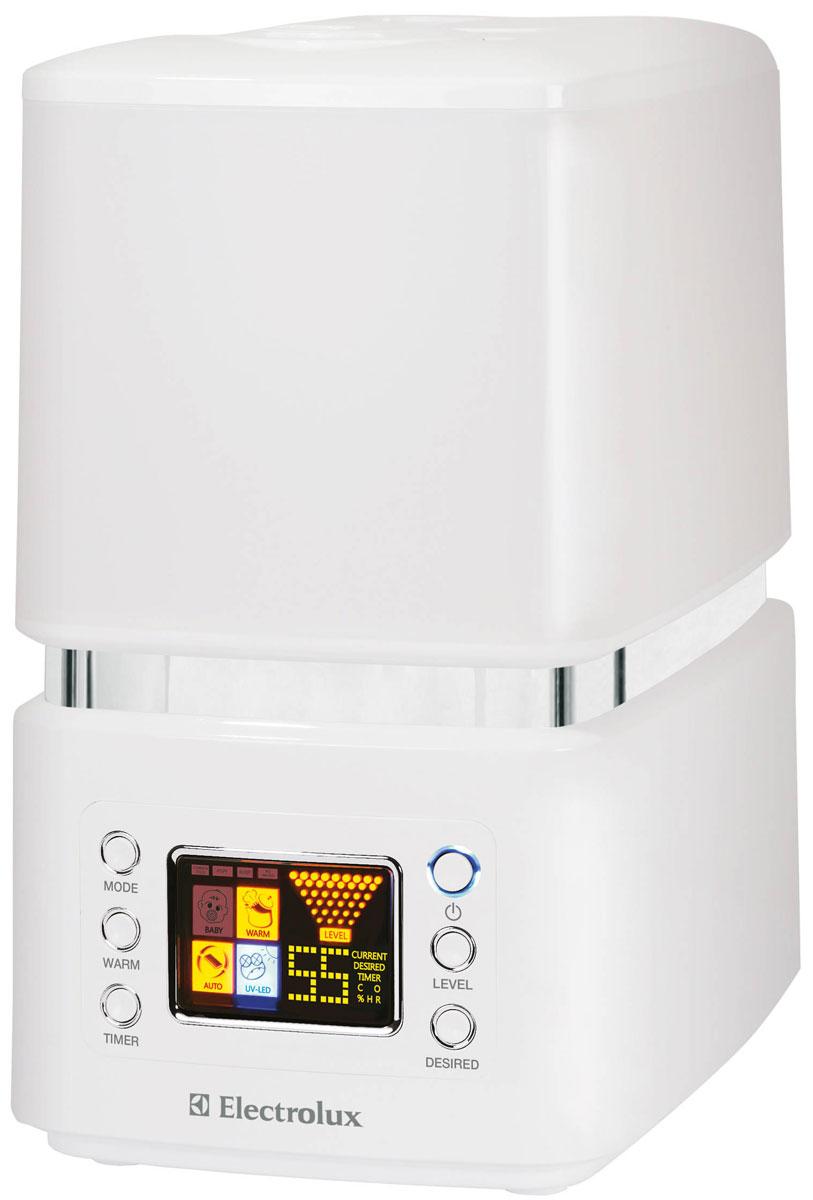 Electrolux EHU-3510D, White ультразвуковой увлажнитель воздухаНС-0070661Electrolux EHU-3510D представляет собой современный ультразвуковой увлажнитель воздуха с интеллектуальным управлением, эффективной системой фильтрации и высокой производительностью работы по созданию чистого и максимально комфортного микроклимата в помещении. Принцип действия ультразвукового увлажнителя основан на том, что вода из специального резервуара попадает на вибрирующую с высокой частотой мембрану, расщепляется на мельчайшие брызги, образует своеобразный пар, проходя через который, сухой воздух увлажняется и в результате работы специальной системы подачи воздуха поступает в помещение. Увлажнитель воздуха работает в двух различных режимах увлажнения — холодный и теплый пар. В последнем случае, вода перед подачей на ультразвуковую мембрану нагревается до 80°С и на выходе из увлажнителя образуется теплый пар, при этом процессе погибает большинство известных людям бактерий и вредоносных микроорганизмов. При данном режиме, процесс...