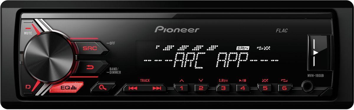 Pioneer MVH-190UB автомагнитола1025106Модель Pioneer MVH-190UB создана специально для цифровой музыки и современных носителей информации. К ней можно подключить смартфон на Android, а также другие устройства через USB порт или дополнительный Aux-вход на фронтальной панели. При этом вы можете одновременно слушать любимую музыку и заряжать аккумулятор телефона. Вы также можете настроится на одну из 24 предустановленных FM радиостанций, чтобы получать ещё больше музыкального контента. Встроенный усилитель MOSFET с выходной мощностью 4 х 50 Вт позволяет воспроизводить музыку в высоком качестве. Для того, чтобы увеличить мощность, можно воспользоваться RCA выходом на тыловой панели устройства для подключения дополнительного сабвуфера или усилителя. Эта модель имеет короткое шасси ( корпус на 41% короче обычного), что существенно упрощает ее установку в автомобиле.