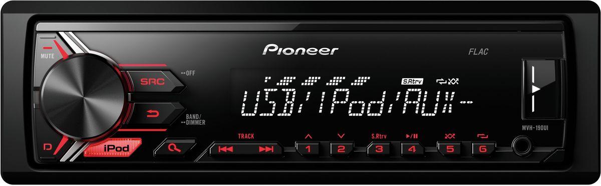 Pioneer MVH-190UI автомагнитола1025108Модель Pioneer MVH-190UI создана специально для цифровой музыки и современных носителей информации. К ней можно подключить как устройство Apple, так и смартфон на Android, а также другие устройства через USB порт или дополнительный Aux-вход на фронтальной панели. При этом Вы можете одновременно слушать любимую музыку и заряжать аккумулятор телефона. Вы также можете настроится на одну из 24 предустановленных FM радиостанций, чтобы получать ещё больше музыкального контента. Встроенный усилитель MOSFET с выходной мощностью 4 х 50 Вт позволяет воспроизводить музыку в высоком качестве . Для того, чтобы увеличить мощность, можно воспользоваться 2 RCA выходами на тыловой панели устройства для подключения дополнительного усилителя и динамиков. Укороченное шасси (корпус на 41% короче обычного) позволяет упростить процесс установки магнитолы в автомобиле.