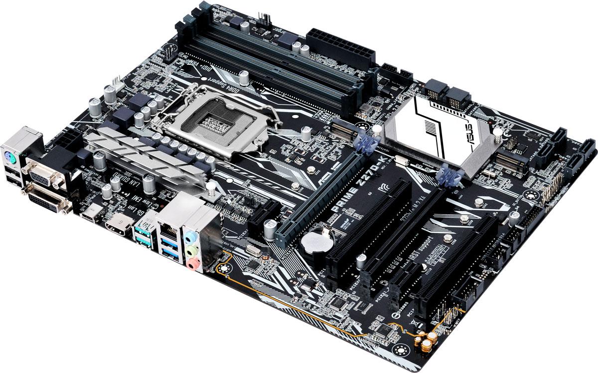 ASUS PRIME Z270-K материнская плата90MB0S30-M0EAY0ASUS PRIME Z270-K - материнская плата формата ATX с процессорным разъемом Intel LGA1151, светодиодной подсветкой и современными интерфейсами. Данная материнская плата оснащена новейшим чипсетом Intel Z270 и совместима с процессорами Intel серий Core i7/Core i5/Core i3/Pentium/Celeron шестого и седьмого поколений, которые устанавливаются в разъем LGA1151. Такие процессоры включают в себя интегрированное графическое ядро, а также контроллеры памяти и шины PCI Express с поддержкой двухканальной DDR4 SDRAM (4 слота DIMM) и 16 линий PCI Express 3.0/2.0. Intel Z270 поддерживает до десяти портов USB 3.0 и шести портов SATA 6 Гбит/с, предлагает интерфейсы M.2 (32 Гбит/с) и PCIe 3.0, а также позволяет использовать графические ядра, встраиваемые в современные процессоры Intel. Prime - это новый этап в развитии материнских плат ASUS, чья родословная начинается с далекого 1989 года. Команда инженеров, создающих модели серии Prime, ставила себе целью...
