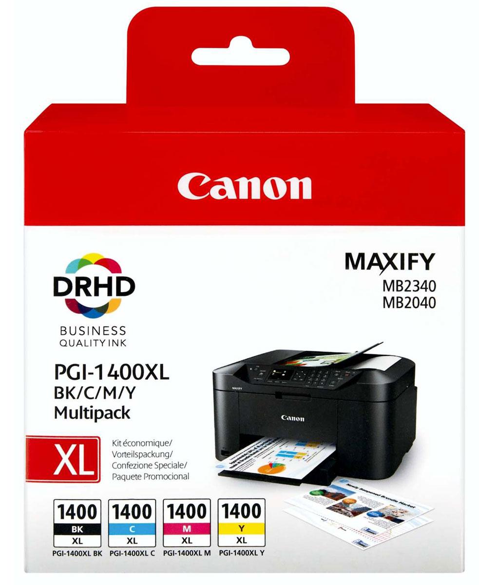 Canon PGI-1400XL EMB MULTI картридж для Maxify МВ2040/МВ23409185B004Сэкономьте время и деньги благодаря этой мульти-упаковке, в которой содержится полный набор чернил XL для вашего принтера: голубые, пурпурные, желтые и черные. Пигментные чернила DRHD используются для профессиональной печати бизнес документации.