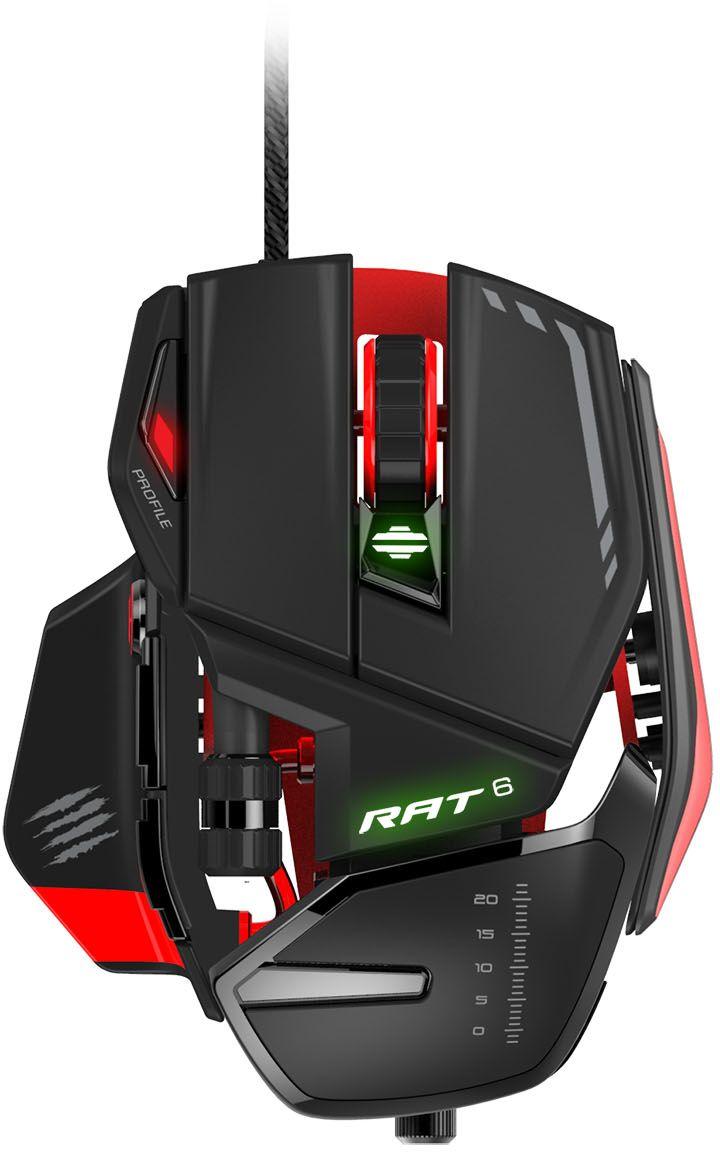 Mad Catz R.A.T. 6, Black Red игровая мышьPCAmc68Точность и надежность для любого вида игры. Прочность, которая не подведет Вся линейка RAT является особенно прочной, в ней используются материалы и детали, которые отвечают запросам пользователей. В основании RAT 6 супер-легкие шасси, а позиция сенсора точно выверена, что дает идеальный баланс для игры на вашей поверхности. Это также дает возможность крепкой основы для всех остальных модулей. Сверхнадежные переключатели OMRON, ведущие в индустрии, выдерживают 50 миллионов нажатий. Это обеспечивает высокий уровень действий в минуту (APM - Actions Per Minute), и геймер не пропустит ни одной атаки. Динамическая эргономика мыши позволит настроить мышь к вашему стилю игры Все игры разные. Мыши RAT сделаны с такой точностью, что основные части устройства можно настроить под ваш стиль игры. У RAT 6 есть настраиваемая подставка под кисть и система грузов. И поэтому, когда вы держите ее всей ладонью, одними ногтями или кончиками пальцев, RAT 6 быстро адаптируется,...