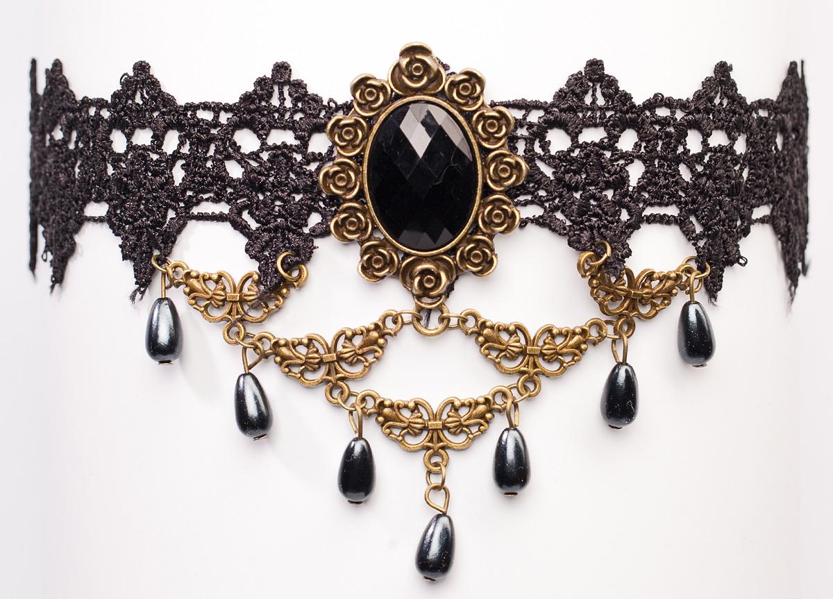 Чокер Bradex Жозефина, цвет: черный. AS 0079AS 0079Bradex Чокер Жозефина - изысканное украшение из узорной шнуровки в стиле ампир. В нижней части свисают подвески в форме капель. В центре расположена камея с резной рамкой.