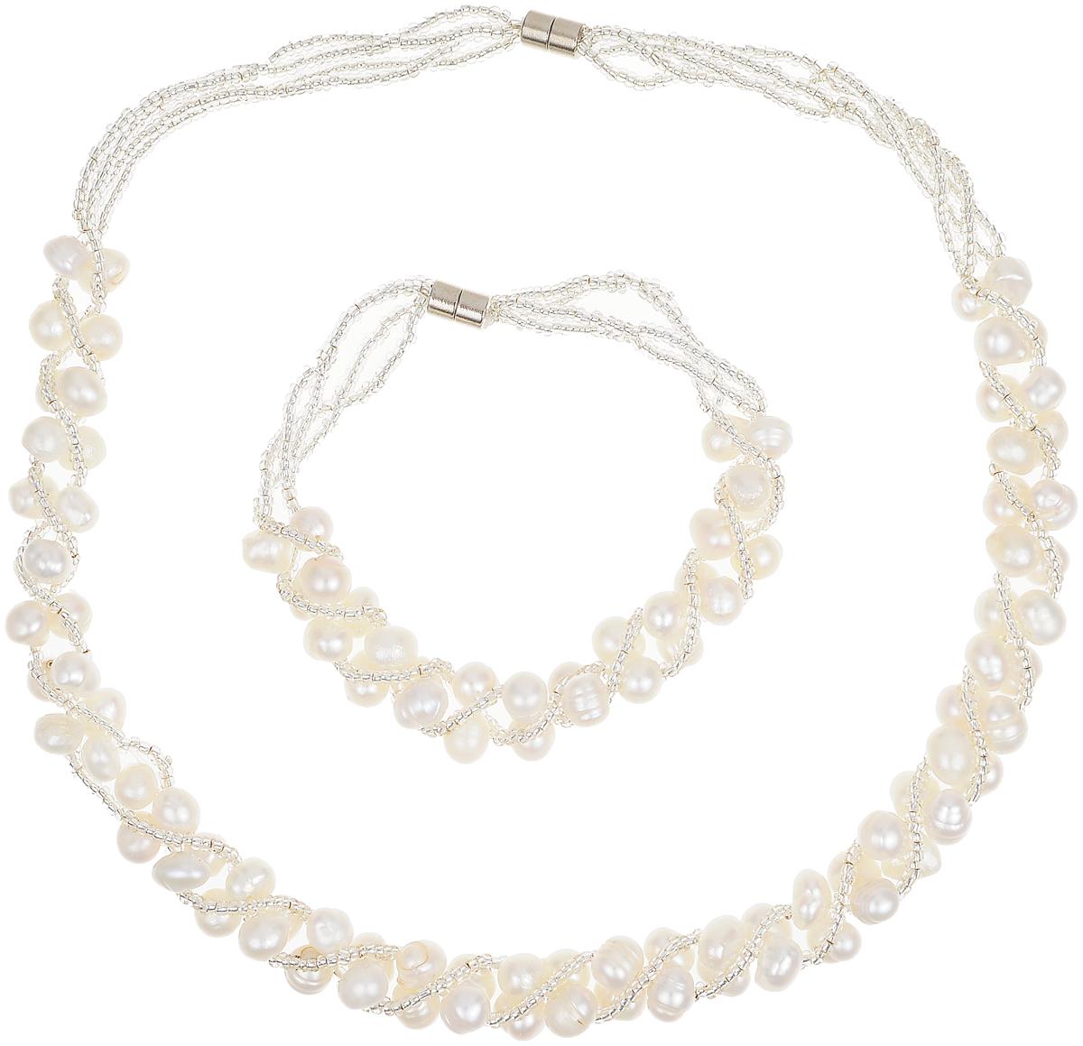 Комплект бижутерии Art-Silver: ожерелье, браслет, цвет: белый. N059-725N059-725Великолепный комплект бижутерии Art-Silver состоит из оригинального ожерелья и браслета. Изделия выполнены из бижутерного сплава, жемчуга и бисера. Ожерелье оформлено бусинами, застегивается на магнитный замок. Браслет так же оформлен бусинами и застегивается на магнитный замок.