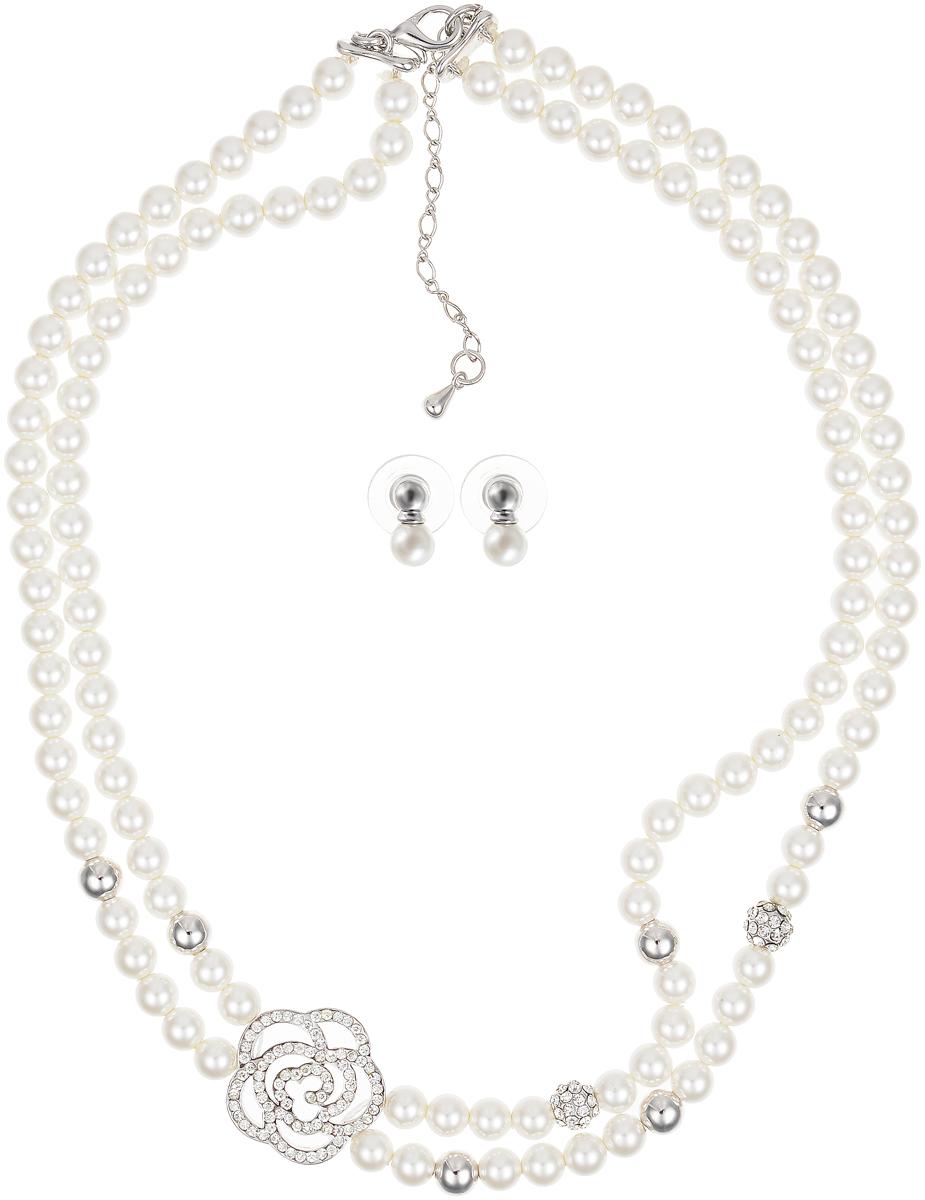 Комплект бижутерии Art-Silver: ожерелье, серьги, цвет: белый. 010860-1881