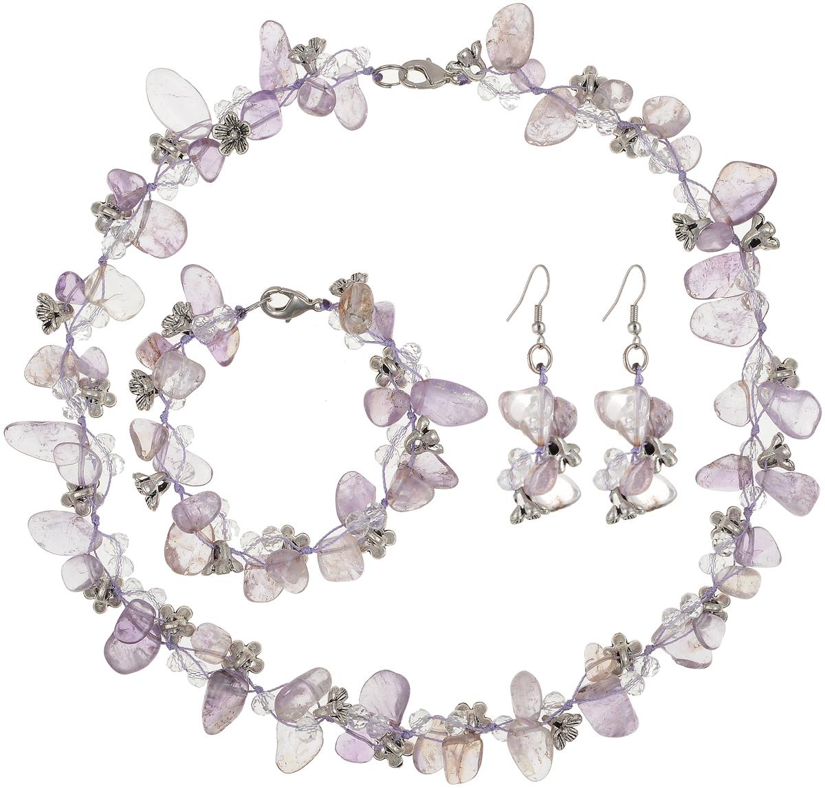 Комплект бижутерии Art-Silver: ожерелье, браслет, серьги, цвет: фиолетовый. СМЦ36-3-956СМЦ36-3-956Великолепный комплект бижутерии Art-Silver состоит из оригинального ожерелья, сережек и браслета. Изделия выполнены из бижутерного сплава, аметиста и кристаллов. Серьги дополнены удобной застежкой-петлей, что обеспечивает надежное удержание серьги. Ожерелье оформлено бусинами различного диаметра, застегивается на застежку-карабин. Браслет оформлен бусинами и застегивается на застежку-карабин.