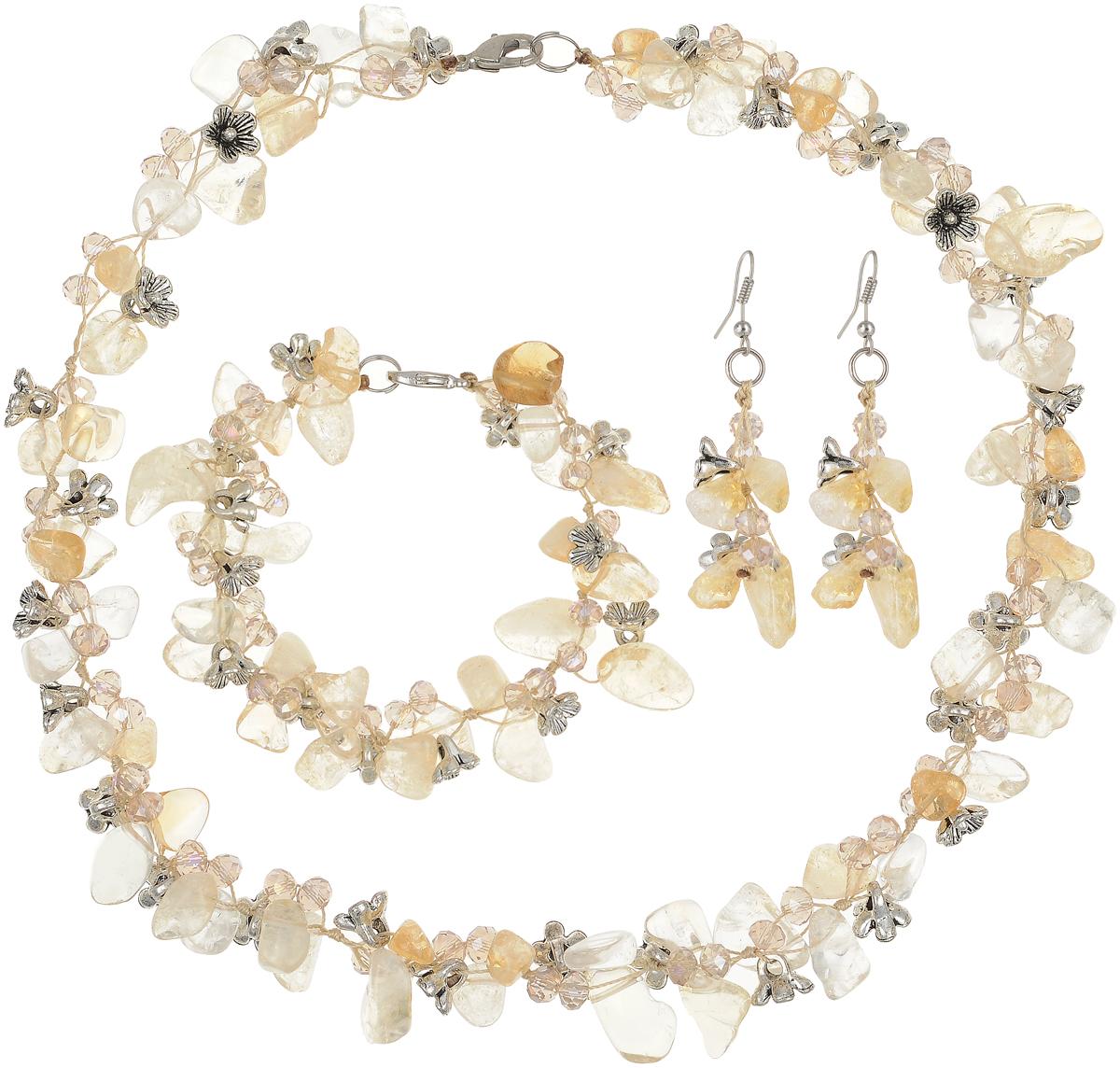 Колье/ожерелье Art-Silver, цвет: желтый. СМЦ36-8-956СМЦ36-8-956Бижутерный сплав, цитрин, кристаллы.
