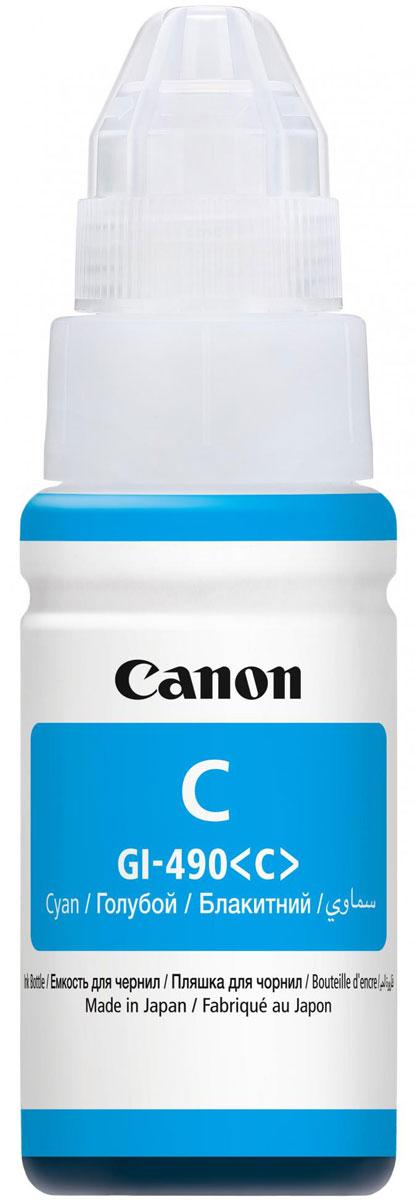 Canon GI-490, Cyan картридж для Pixma G1400/G2400/G34000664C001Картридж Canon Pixma GI-490 с пигментными черными чернилами предназначен для печати документов на обычной бумаге и обеспечивают высокую четкость и долговечность текста.