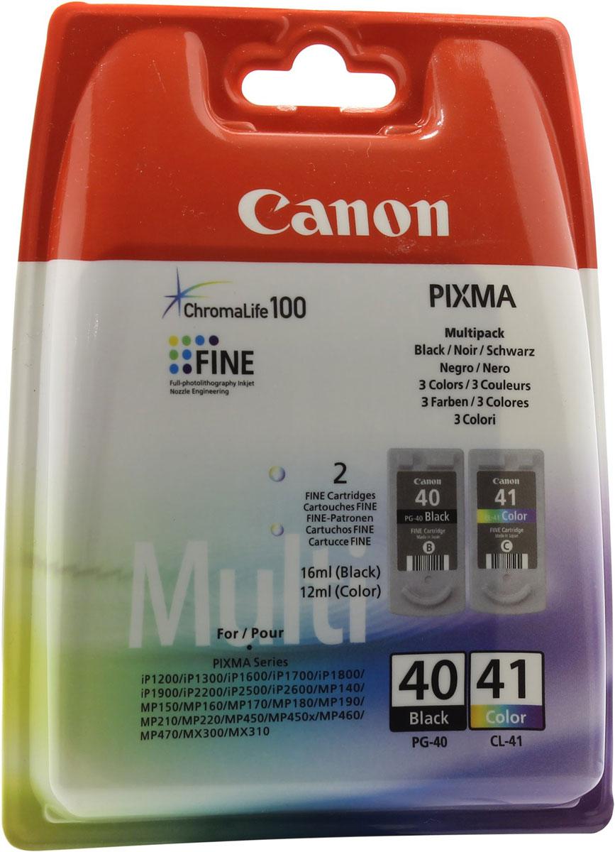 Canon PG-40/CL-41 комплект картриджей для Pixma MP450/MP170/MP150/iP2200/iP16000615B043Комплект картриджей Canon PG-40/CL-41 содержит черные, голубые, желтые и пурпурные чернила на основе красителей, которые используются для печати документов на обычной бумаге и обеспечивают четкость текста и долговечность печатных изображений.