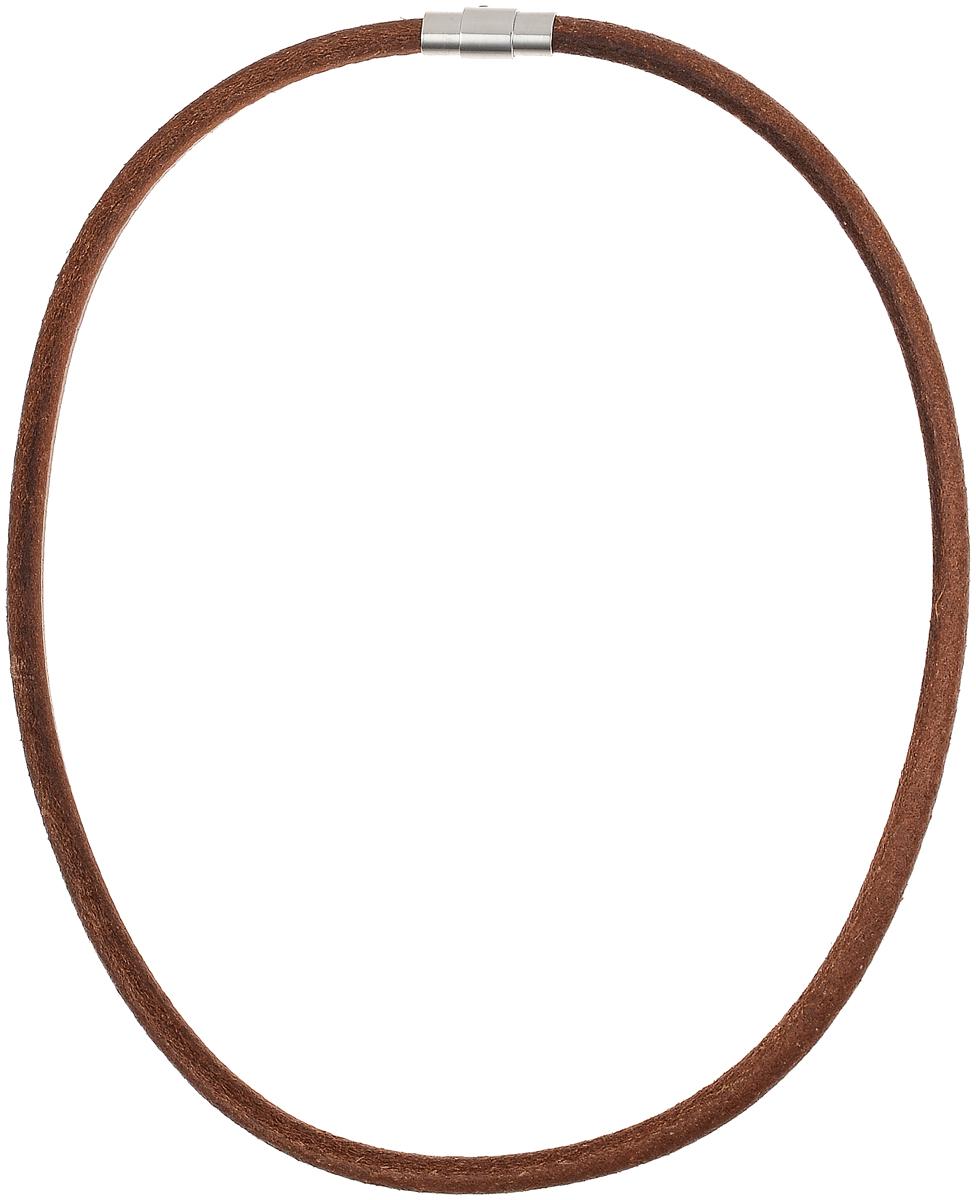 Ожерелье Art-Silver, цвет: коричневый. КЖ291кр-203КЖ291кр-203Ожерелье современного дизайна Art-Silver изготовлено из бижутерийного сплава и искусственной кожи. В комплекте с украшением поставляется мешочек для хранения.