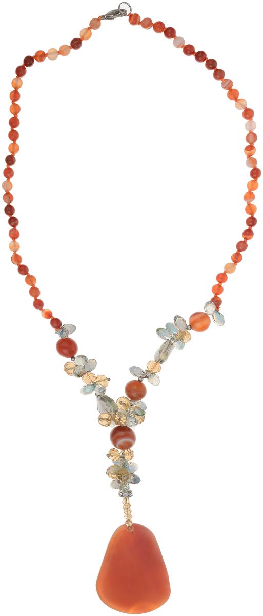 Бусы Art-Silver, цвет: оранжевый. СМЦ10-3-1384СМЦ10-3-1384Бусы Art-Silver выполнены из бижутерного сплава, агата и кристаллов. Изделие оснащено удобным замком-карабином и дополнено объемной подвеской.