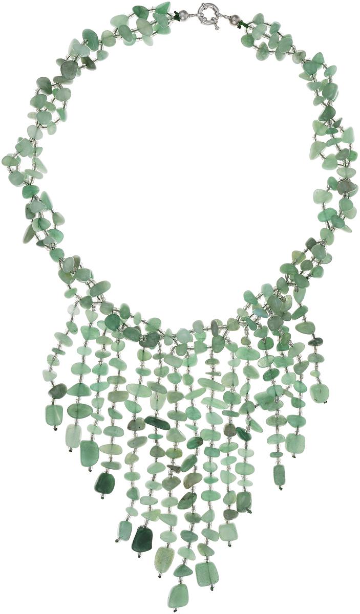Бусы Art-Silver, цвет: зеленый. СМЦ65-1-1057СМЦ65-1-1057Стильные бусы Art-Silver из выполнены из бижутерного сплава, нефрита и бисера. Изделие оснащено удобным шпренгельным замком.