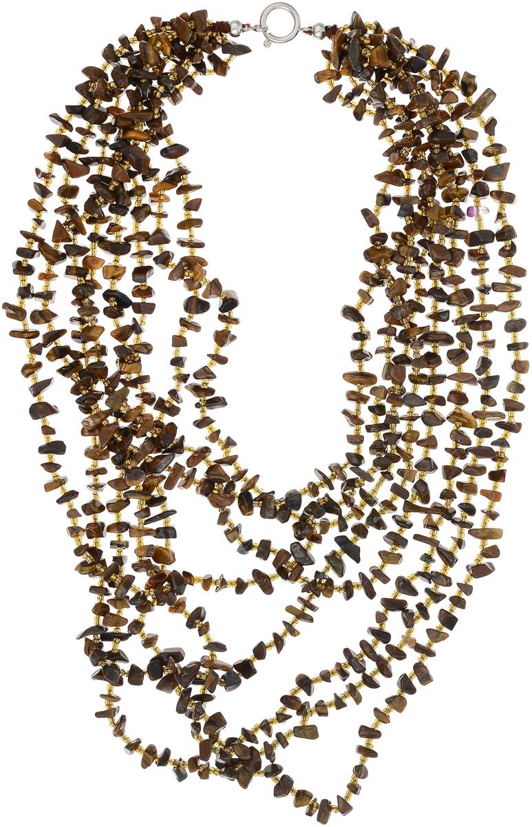 Бусы Art-Silver, цвет: коричневый. СМЦ32-6-730СМЦ32-6-730Бусы Art-Silver выполнены из бижутерного сплава, камня тигрового глаза и бисера. Изделие оснащено удобным шпренгельным замком.