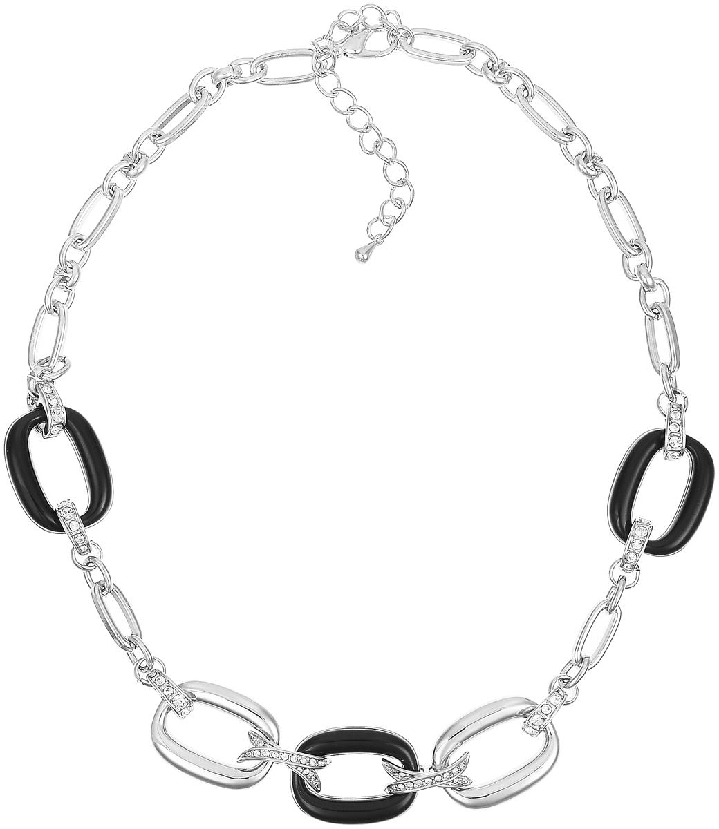 Ожерелье Art-Silver, цвет: серебряный, черный. MS06196N-R-B-1701MS06196N-R-B-1701Ожерелье современного дизайна Art-Silver изготовлено из бижутерийного сплава. Центральная часть ожерелья дополнена декоративными элементами с вставками из циркона и эмали. Колье застегивается на замок-карабин, длина изделия регулируется за счет дополнительных звеньев. В комплекте с украшением поставляется мешочек для хранения.