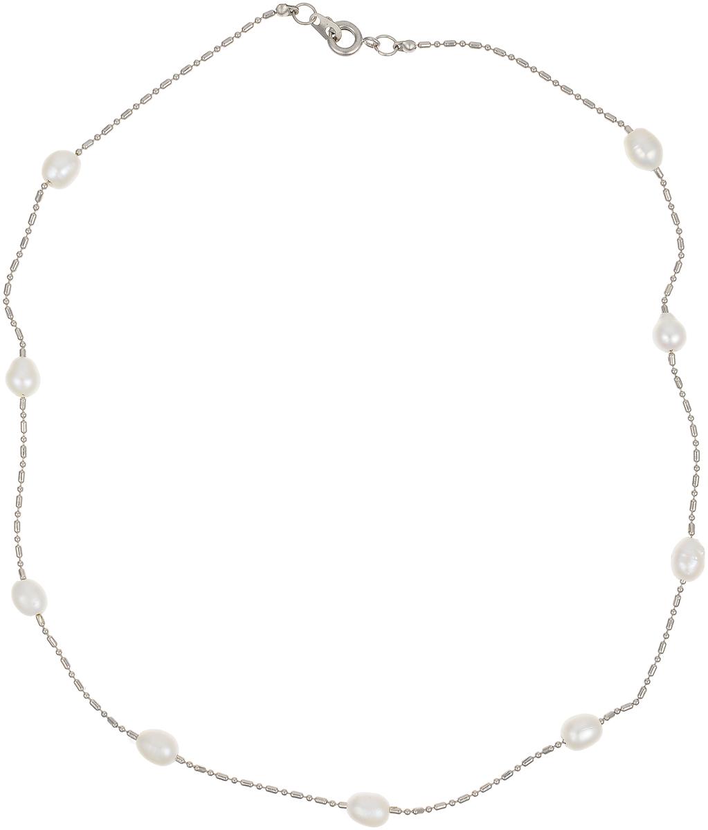 Цепочка Art-Silver, цвет: серебряный, белый. N240216-250N240216-250Женская цепочка Art-Silver выполнена из бижутерного сплава и жемчуга. Цепочка застегивается на замок-карабин. В комплекте с украшением поставляется мешочек для хранения.