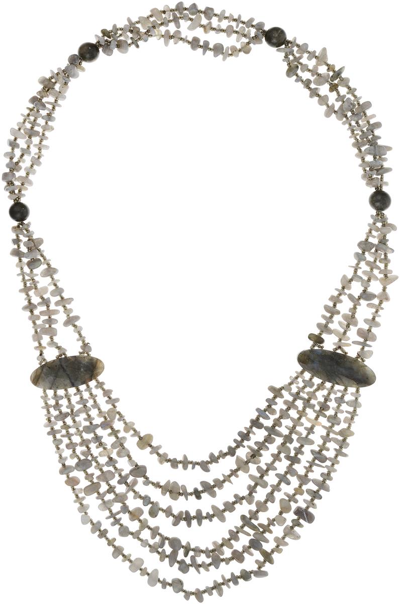 Бусы Art-Silver, цвет: серый. СМЦ40-9-1208СМЦ40-9-1208Бусы Art-Silver выполнены из бижутерного сплава и камня халцедона. Изделие оформлено бусинами различного диаметра.