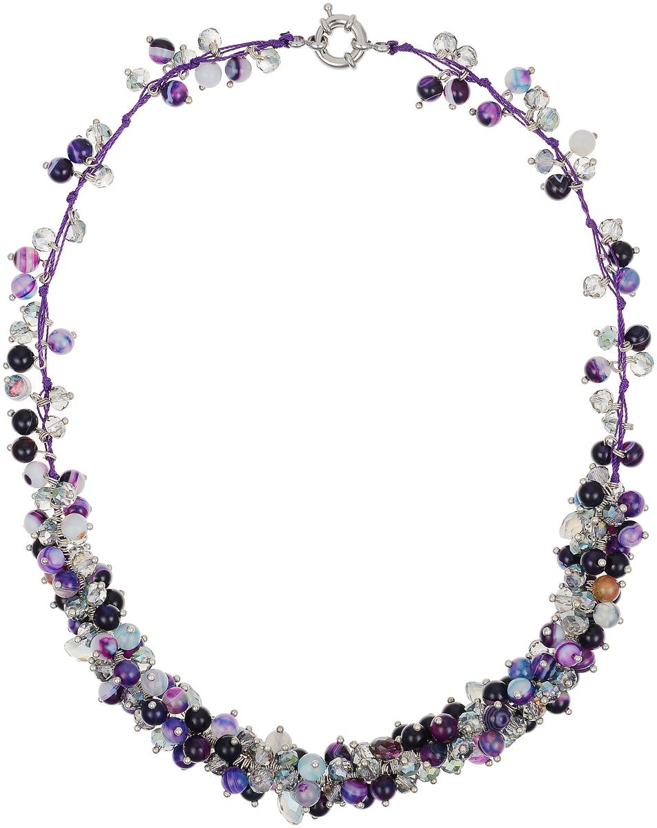Бусы Art-Silver, цвет: фиолетовый. СМЦ61-6-1459СМЦ61-6-1459Бусы Art-Silver выполнены из бижутерного сплава, агата и кристаллов. Изделие оснащено удобным шпренгельным замком.