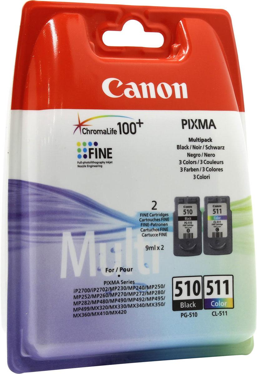 Canon PG-510/CL-511 комплект картриджей для PIXMA MP240/MP260/MP480, MX320/MX330, 2 шт2970B010Комплект оригинальных картриджей Canon PG-510/CL-511 с оригинальными чернилами гарантирует профессиональный вид печатаемых документов и высокую производительность. Надежная печать без проблем. Точная цветопередача и быстрое высыхание. Для получения красивых и долговечных отпечатков сделайте выбор в пользу чернил Canon.