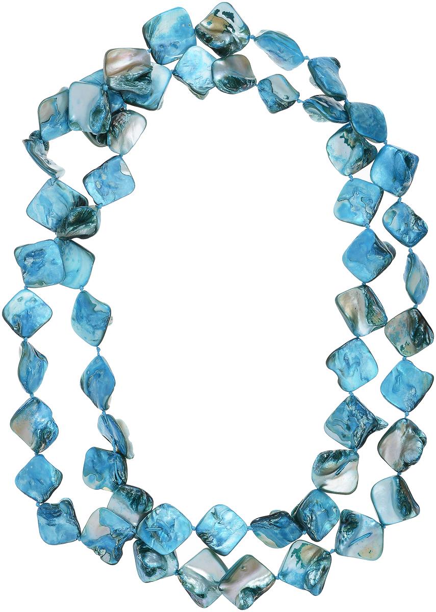 Бусы Art-Silver, цвет: голубой. СМЦ4-1-377СМЦ4-1-377Бусы Art-Silver выполнены из текстиля и перламутра. Изделие оформлено оригинальными ромбами.