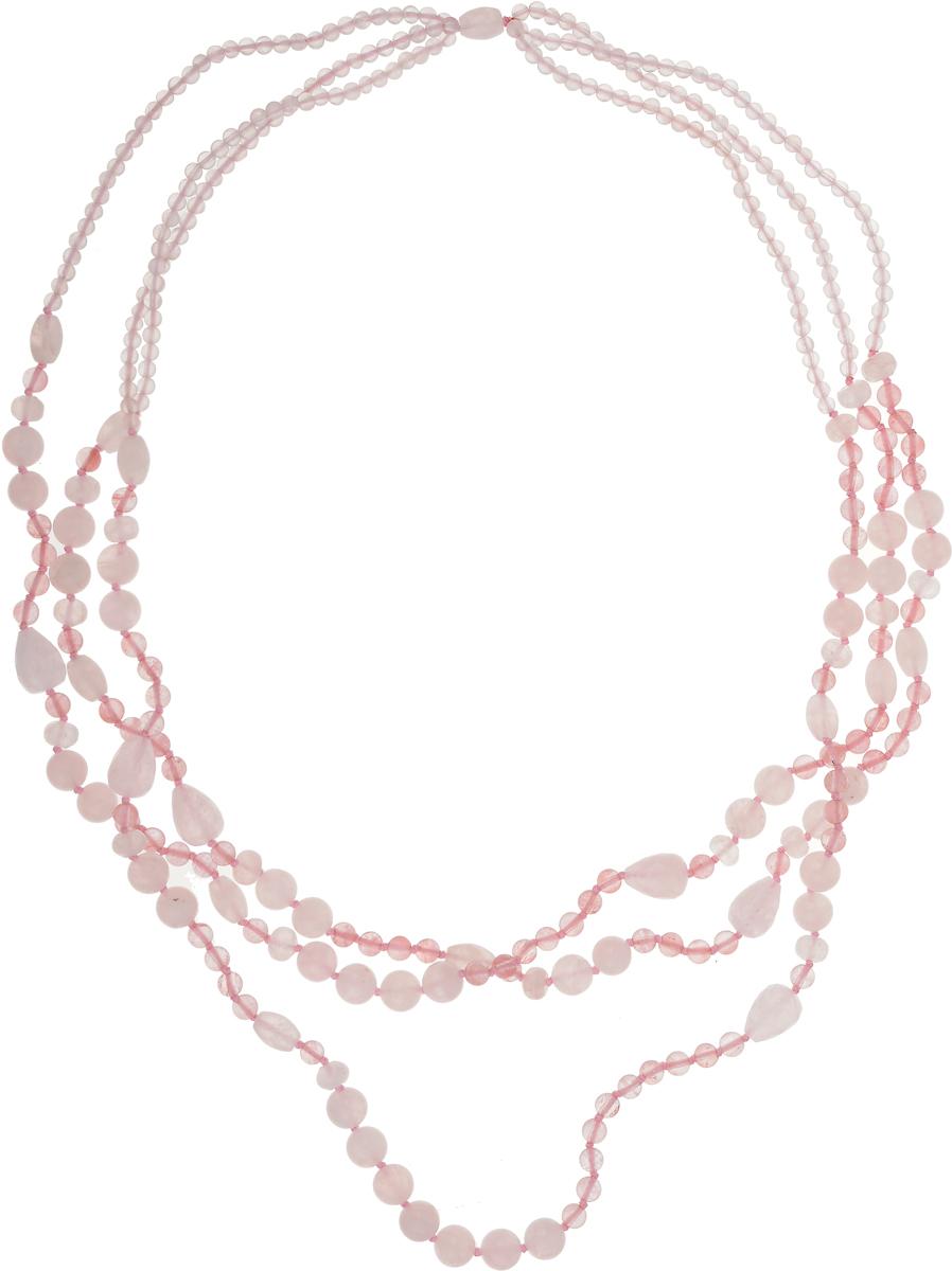 Бусы Art-Silver, цвет: розовый. TNL124-837TNL124-837Бусы Art-Silver выполнены из текстиля и кварца. Изделие оформлено бусинами различного диаметра.